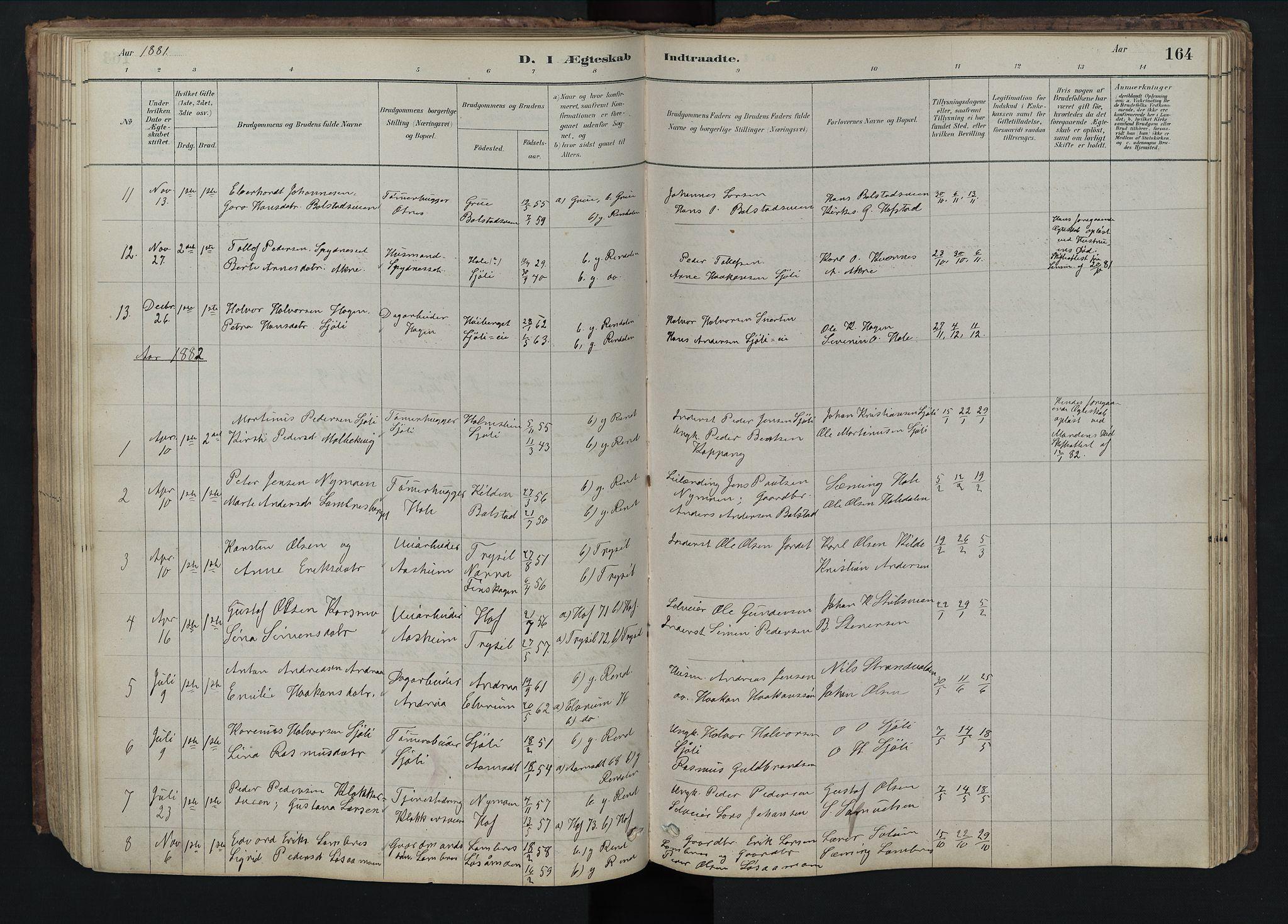 SAH, Rendalen prestekontor, H/Ha/Hab/L0009: Klokkerbok nr. 9, 1879-1902, s. 164