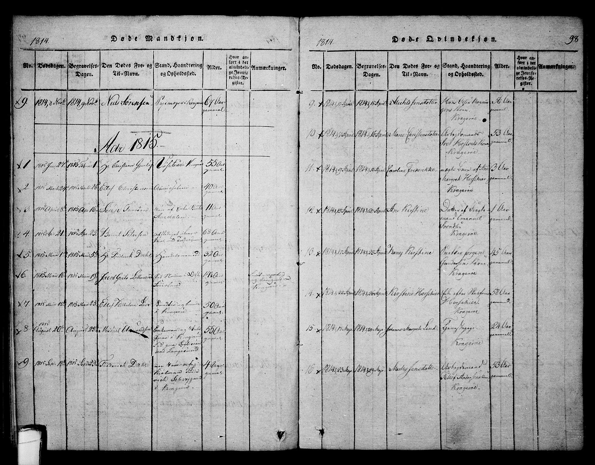 SAKO, Kragerø kirkebøker, F/Fa/L0004: Ministerialbok nr. 4, 1814-1831, s. 98