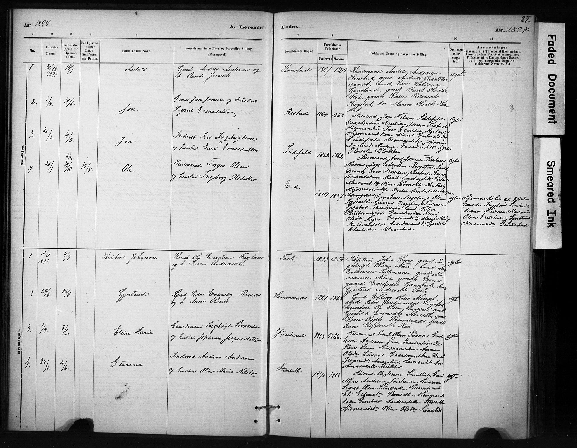 SAT, Ministerialprotokoller, klokkerbøker og fødselsregistre - Sør-Trøndelag, 694/L1127: Ministerialbok nr. 694A01, 1887-1905, s. 27