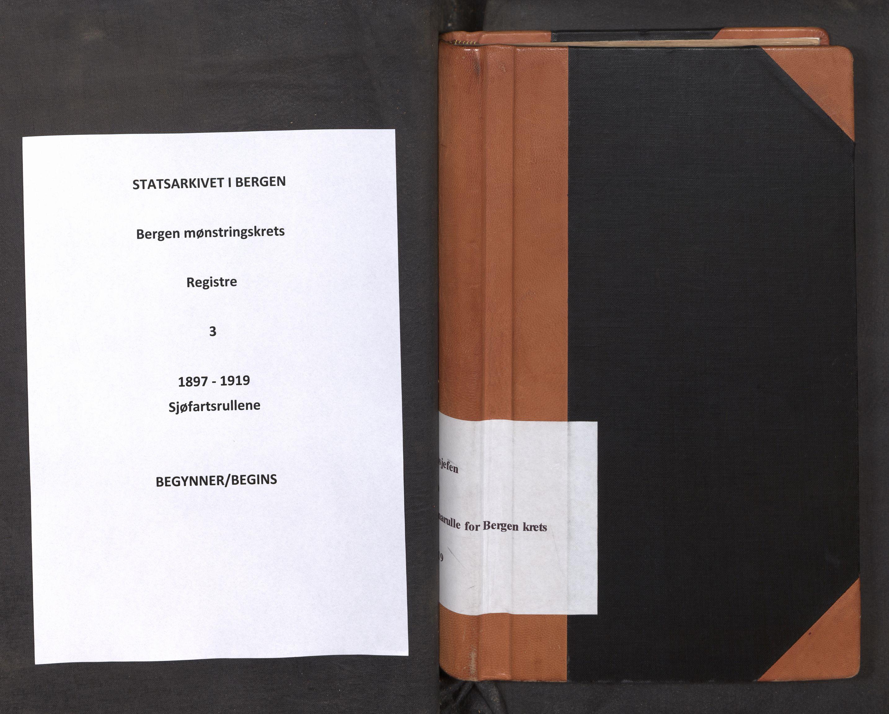 SAB, Innrulleringssjefen i Bergen, F/Fa/L0003: Register til sjøfarts-annotasjonsrulle for Bergen krets, 1897-1919