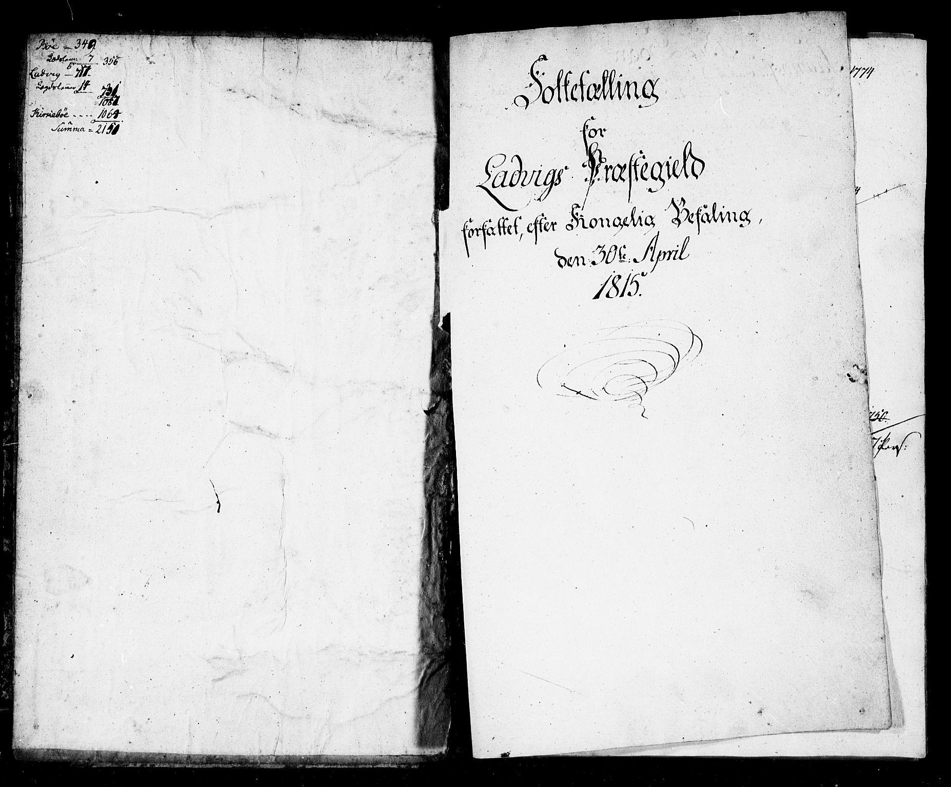 SAB, Folketelling 1815 for 1415P Lavik prestegjeld, 1815, s. 1