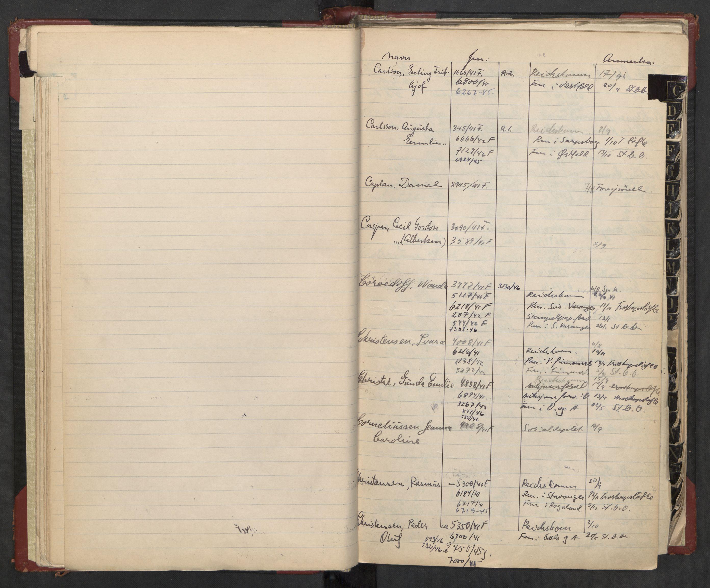 RA, Justisdepartementet, 3. politikontor P3, C/Cc/L0002: Journalregister over statsborgersaker, 1940-1946, s. 16