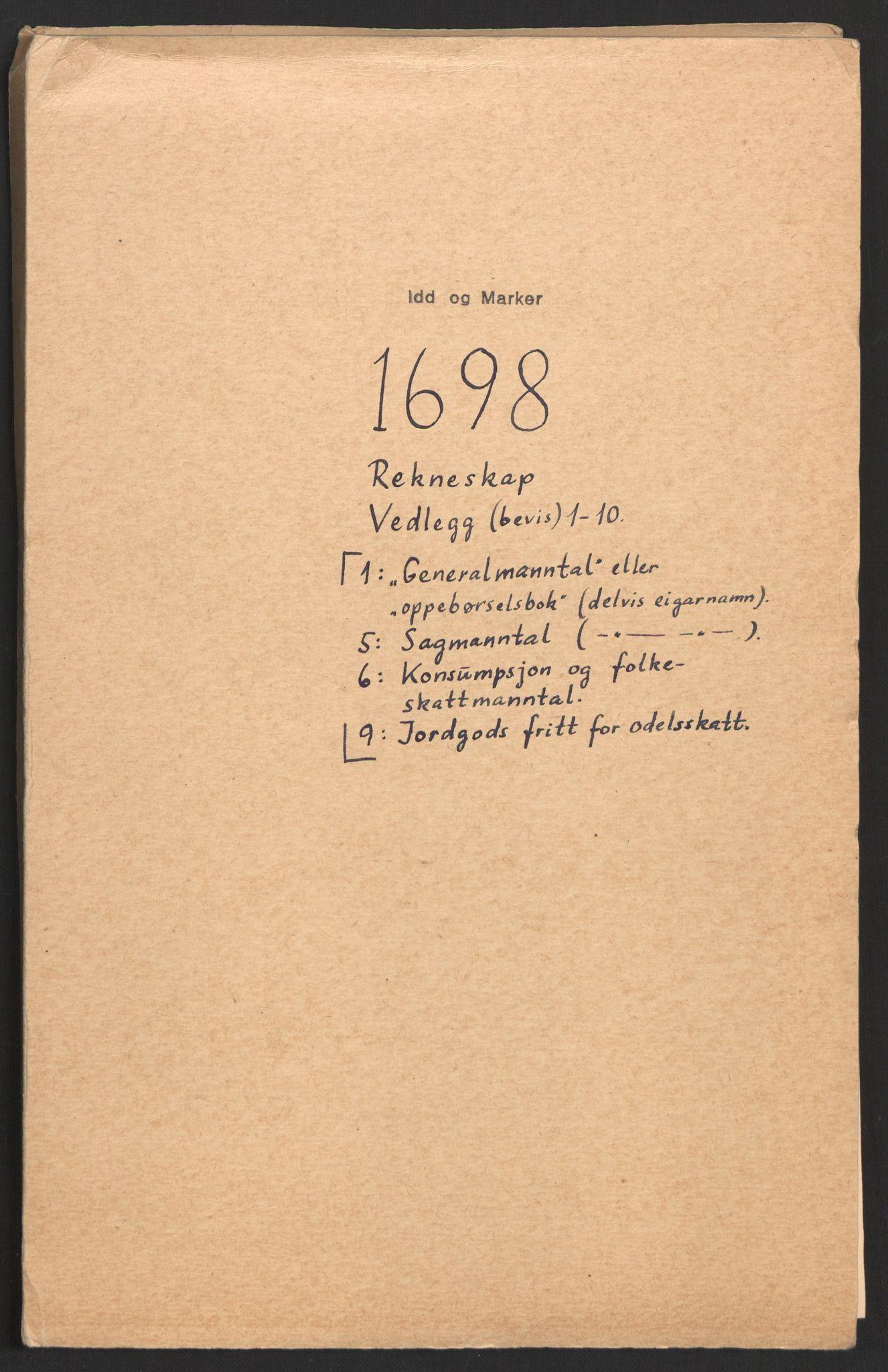 RA, Rentekammeret inntil 1814, Reviderte regnskaper, Fogderegnskap, R01/L0013: Fogderegnskap Idd og Marker, 1696-1698, s. 275