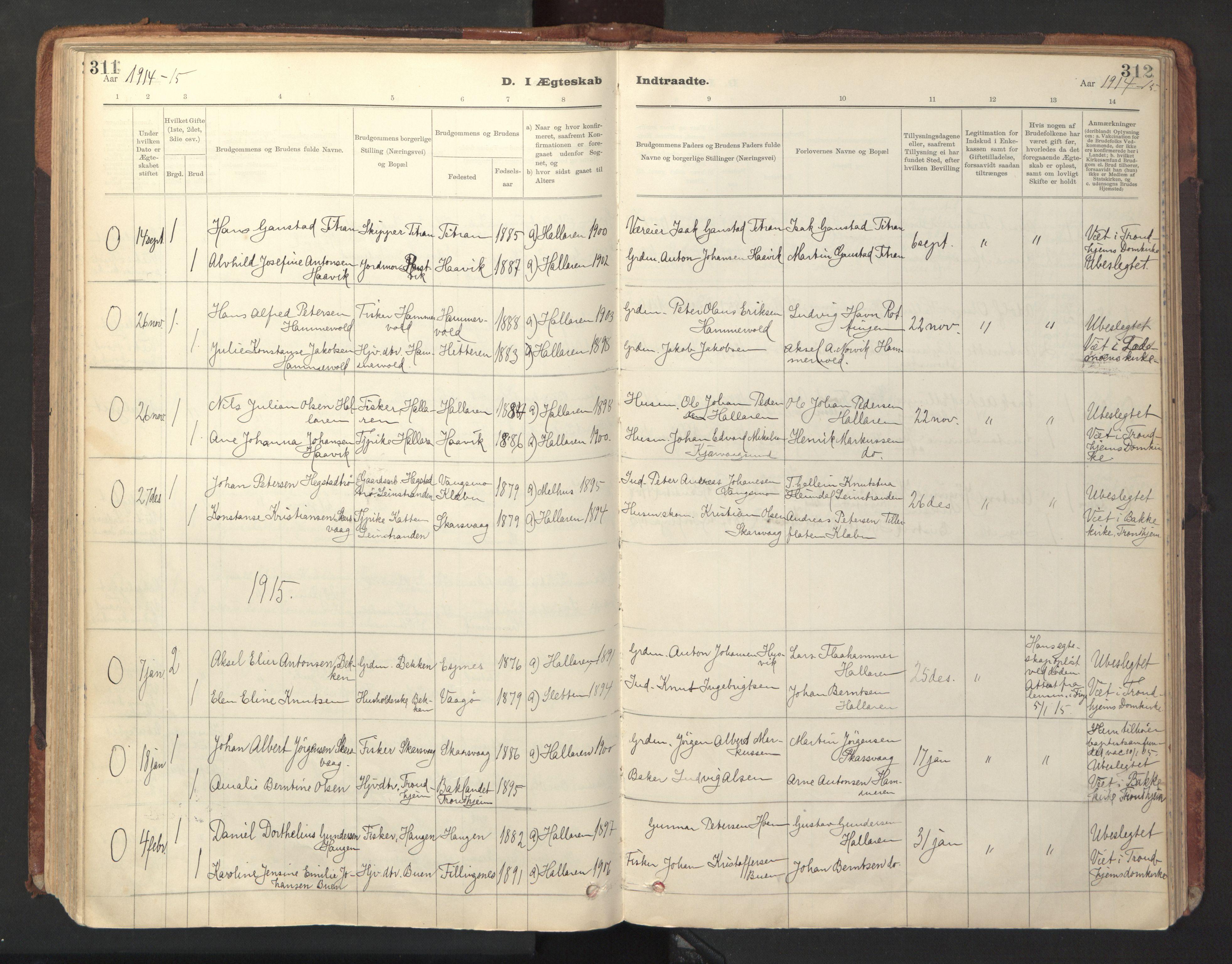 SAT, Ministerialprotokoller, klokkerbøker og fødselsregistre - Sør-Trøndelag, 641/L0596: Ministerialbok nr. 641A02, 1898-1915, s. 311-312