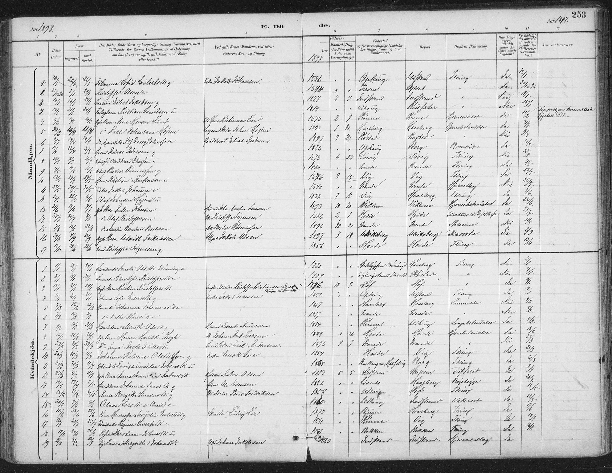 SAT, Ministerialprotokoller, klokkerbøker og fødselsregistre - Sør-Trøndelag, 659/L0743: Ministerialbok nr. 659A13, 1893-1910, s. 253