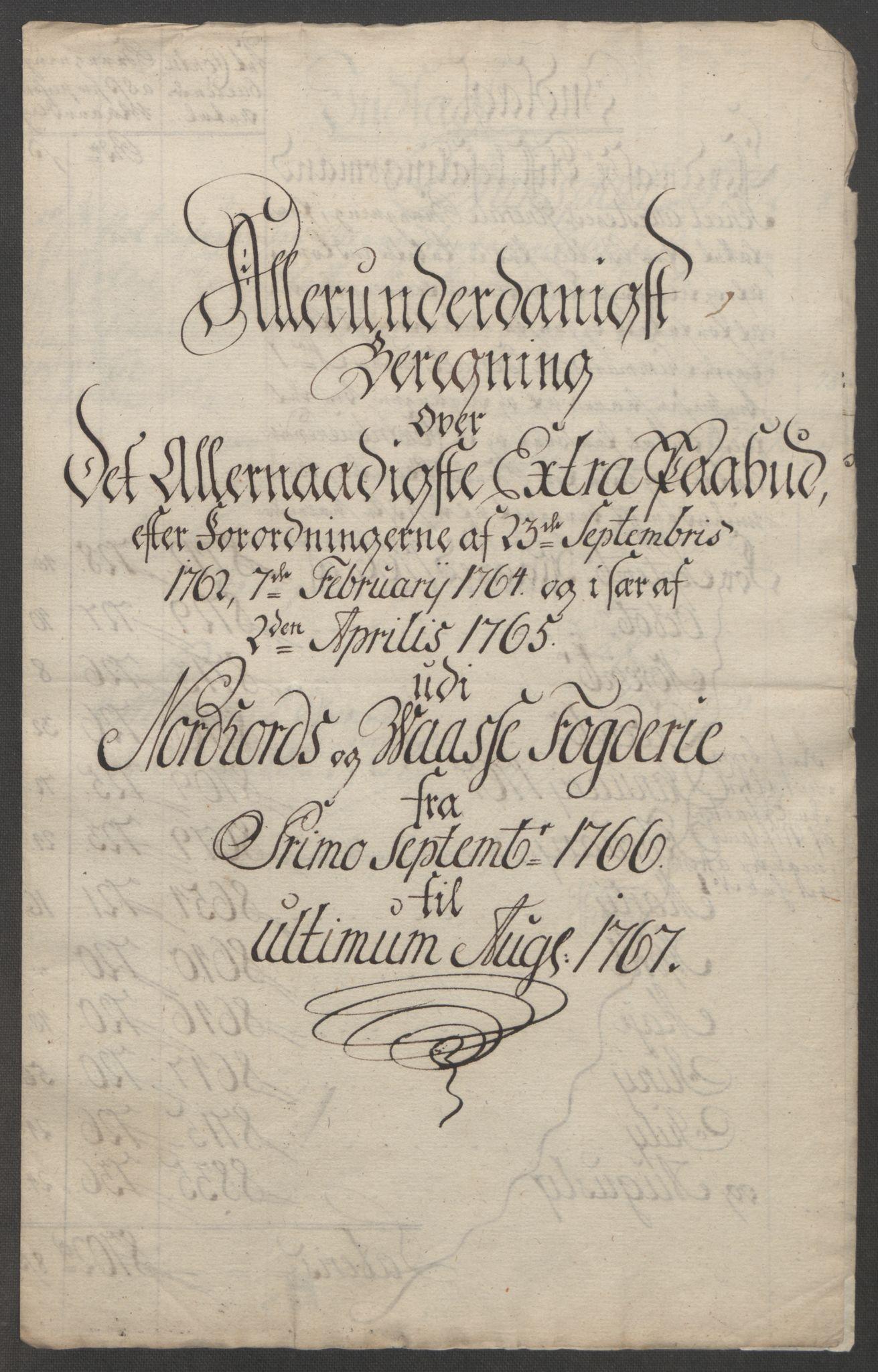 RA, Rentekammeret inntil 1814, Reviderte regnskaper, Fogderegnskap, R51/L3303: Ekstraskatten Nordhordland og Voss, 1762-1772, s. 153