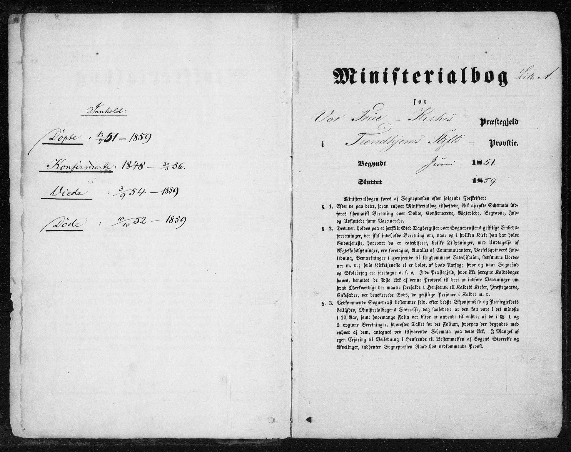 SAT, Ministerialprotokoller, klokkerbøker og fødselsregistre - Sør-Trøndelag, 602/L0112: Ministerialbok nr. 602A10, 1848-1859