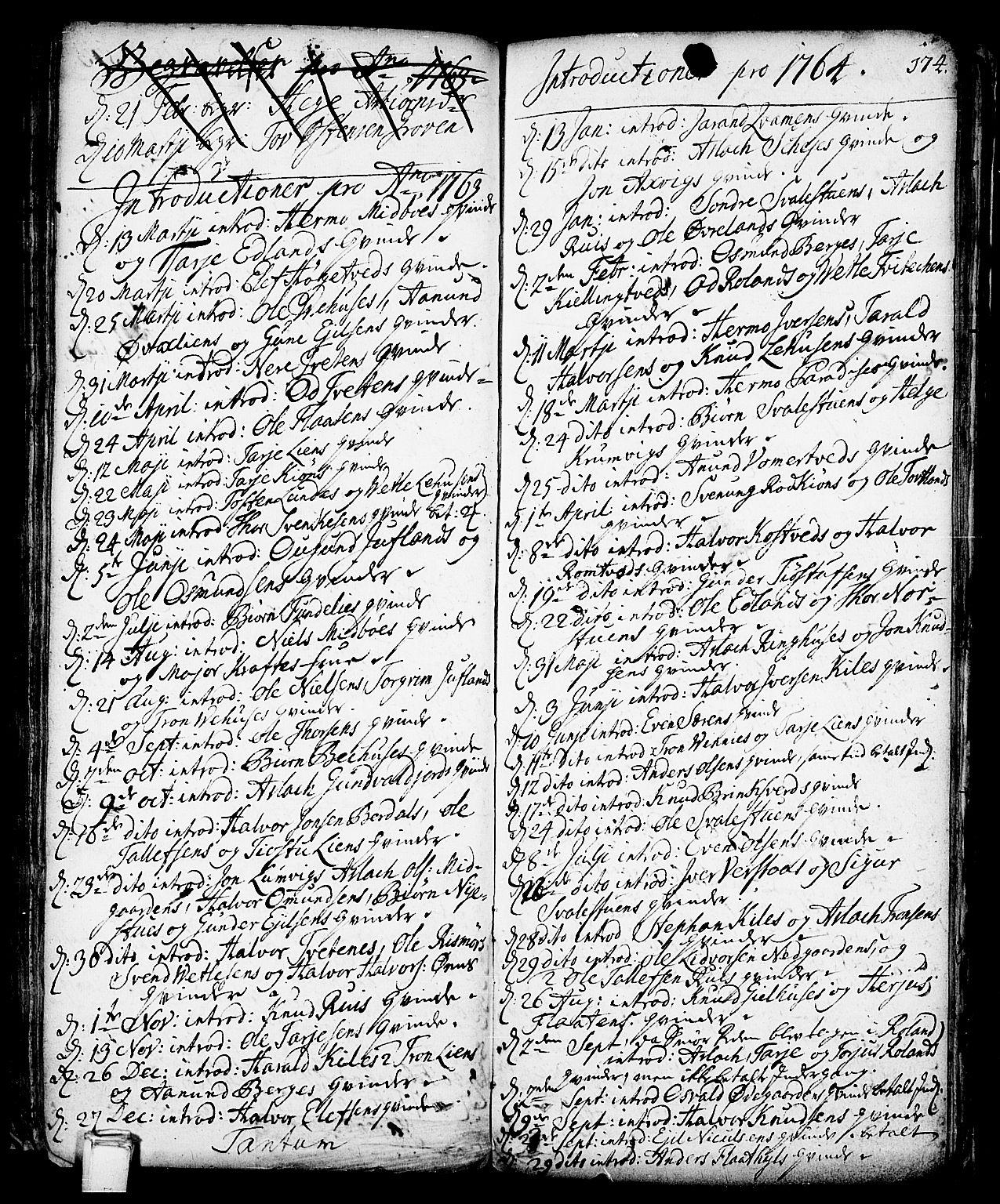 SAKO, Vinje kirkebøker, F/Fa/L0001: Ministerialbok nr. I 1, 1717-1766, s. 174