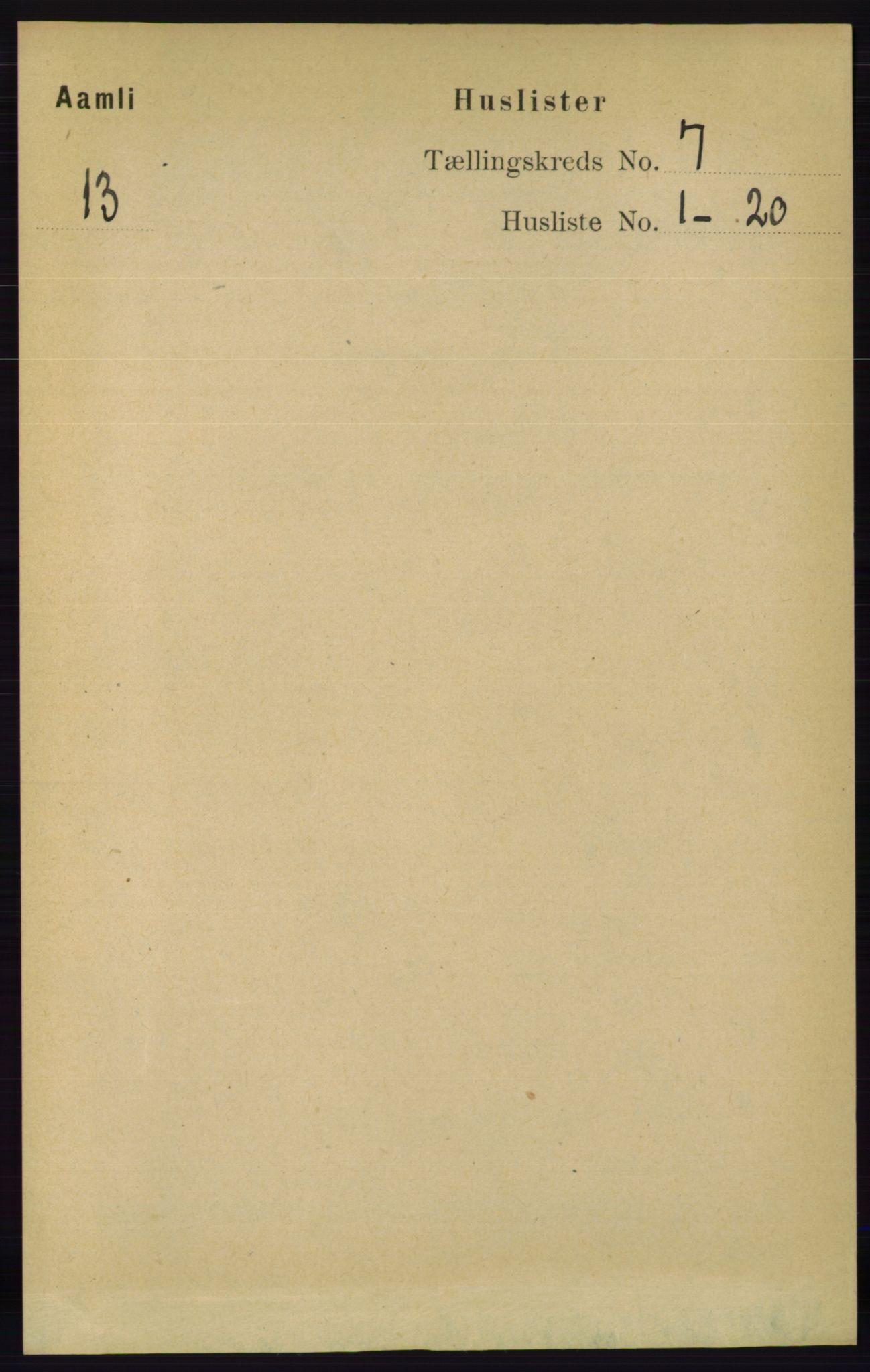 RA, Folketelling 1891 for 0929 Åmli herred, 1891, s. 915