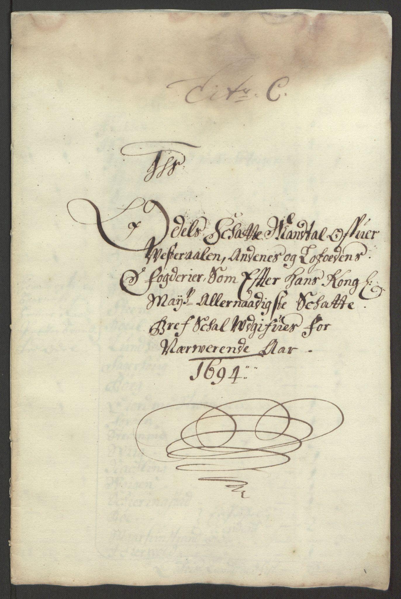 RA, Rentekammeret inntil 1814, Reviderte regnskaper, Fogderegnskap, R67/L4677: Fogderegnskap Vesterålen, Andenes og Lofoten, 1694-1695, s. 60