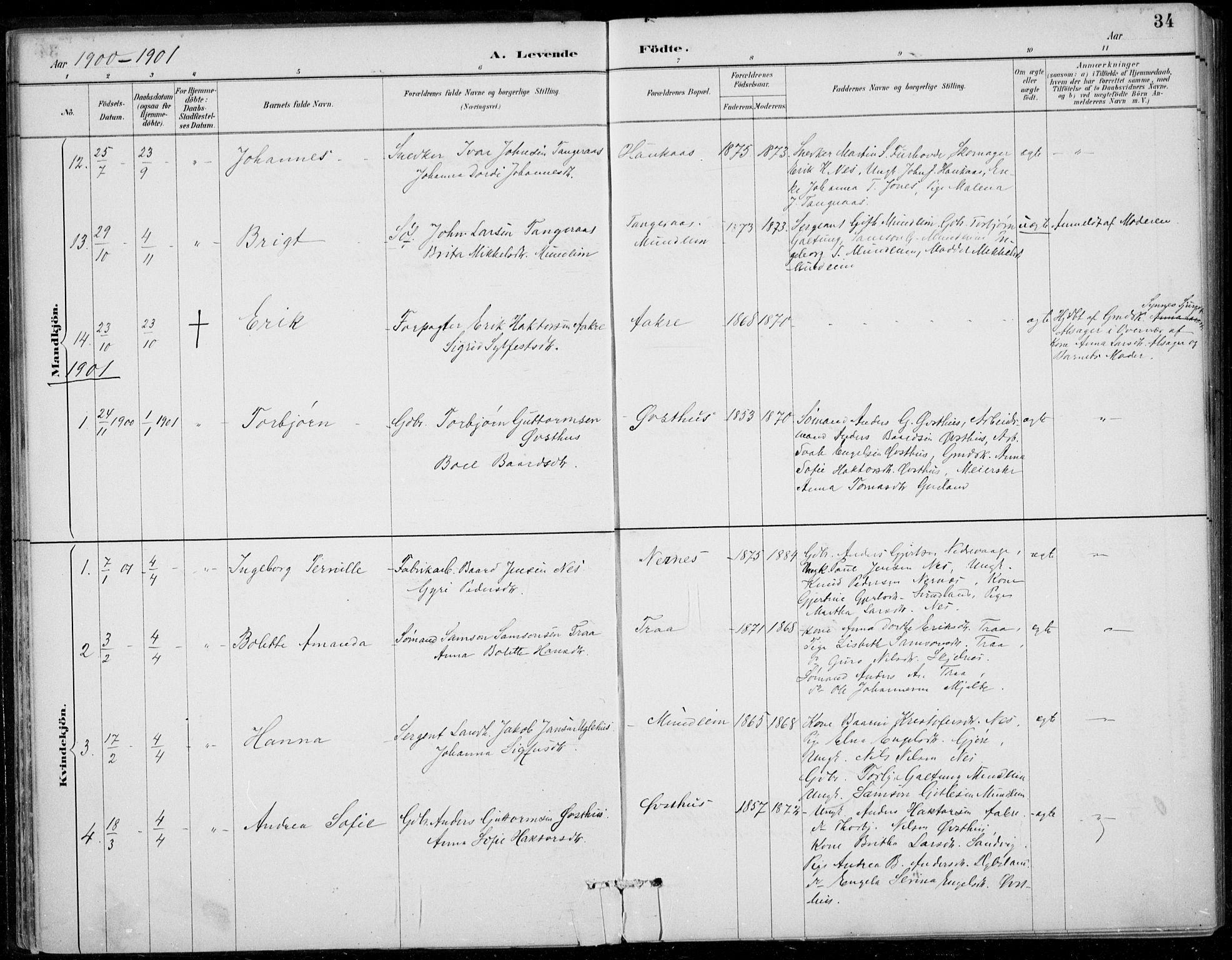 SAB, Strandebarm sokneprestembete, H/Haa: Ministerialbok nr. D  1, 1886-1912, s. 34