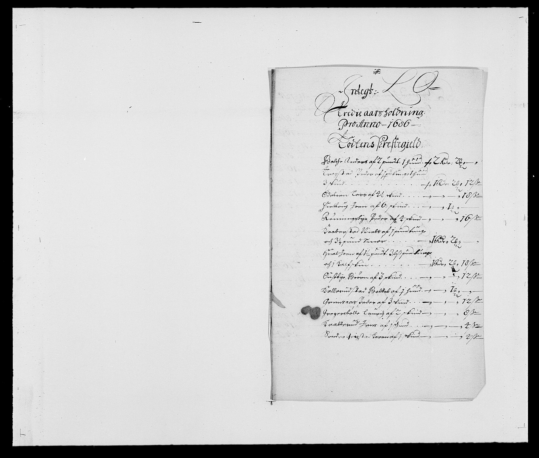 RA, Rentekammeret inntil 1814, Reviderte regnskaper, Fogderegnskap, R18/L1285: Fogderegnskap Hadeland, Toten og Valdres, 1686, s. 149