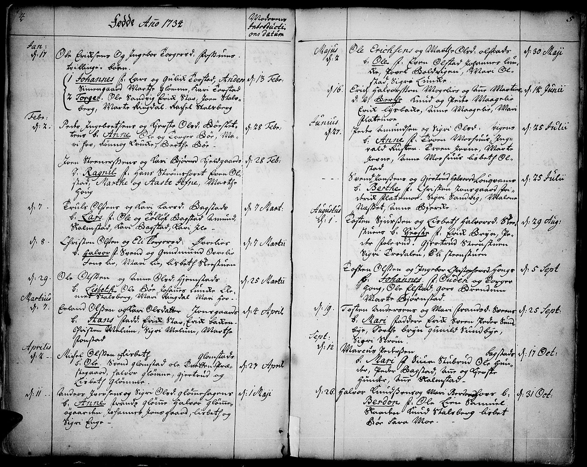 SAH, Øyer prestekontor, Ministerialbok nr. 2, 1733-1784, s. 4-5