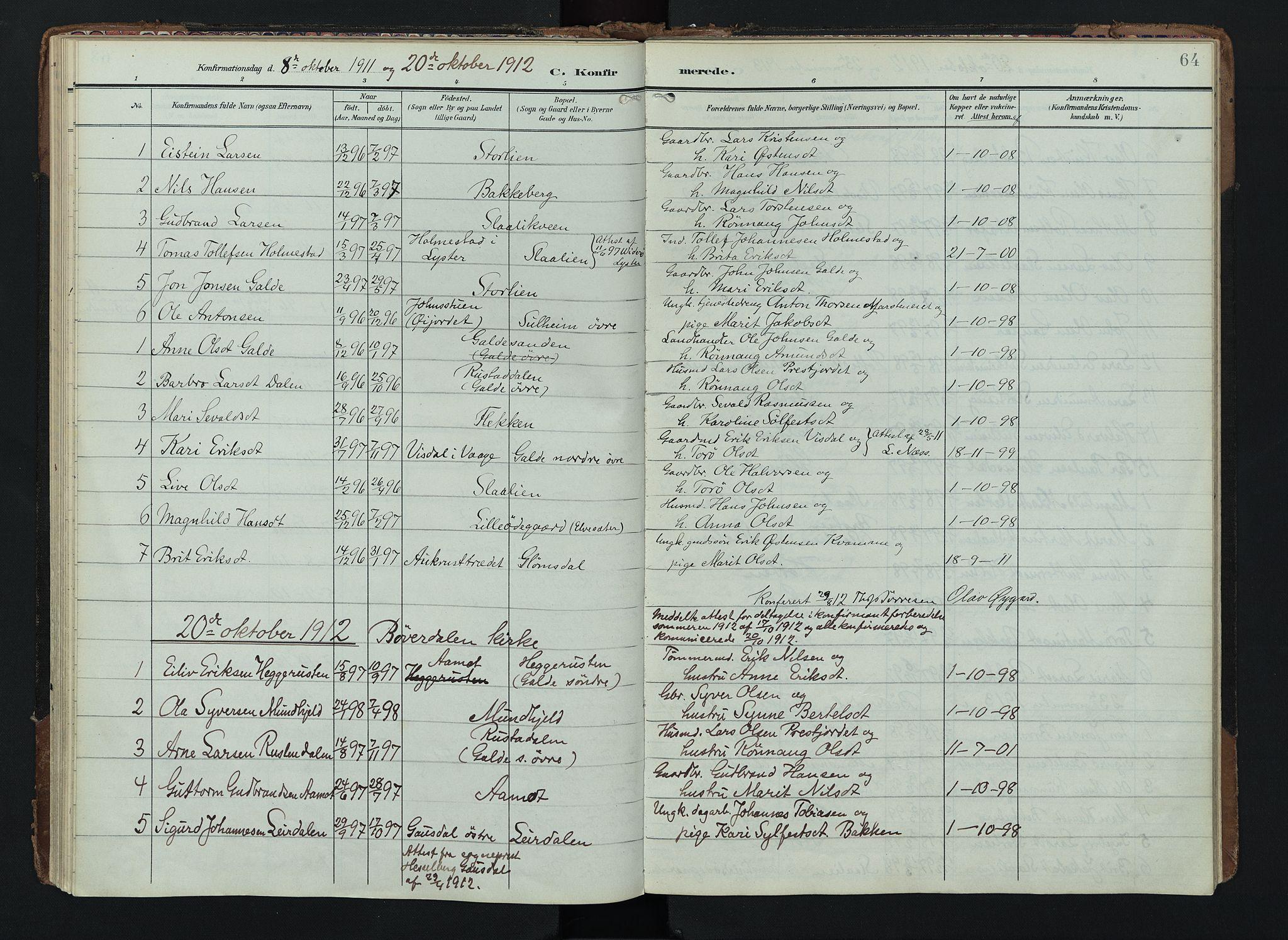 SAH, Lom prestekontor, K/L0012: Ministerialbok nr. 12, 1904-1928, s. 64