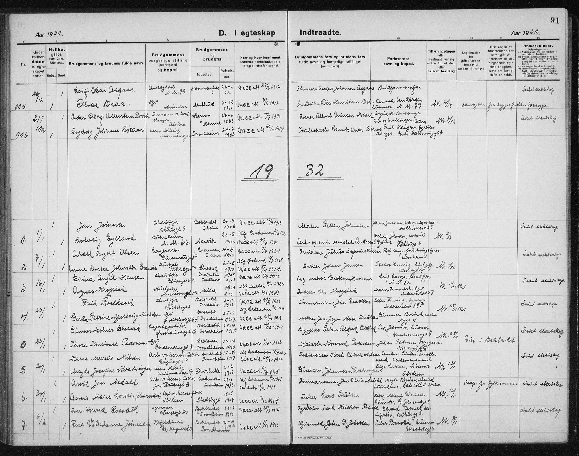 SAT, Ministerialprotokoller, klokkerbøker og fødselsregistre - Sør-Trøndelag, 605/L0260: Klokkerbok nr. 605C07, 1922-1942, s. 91