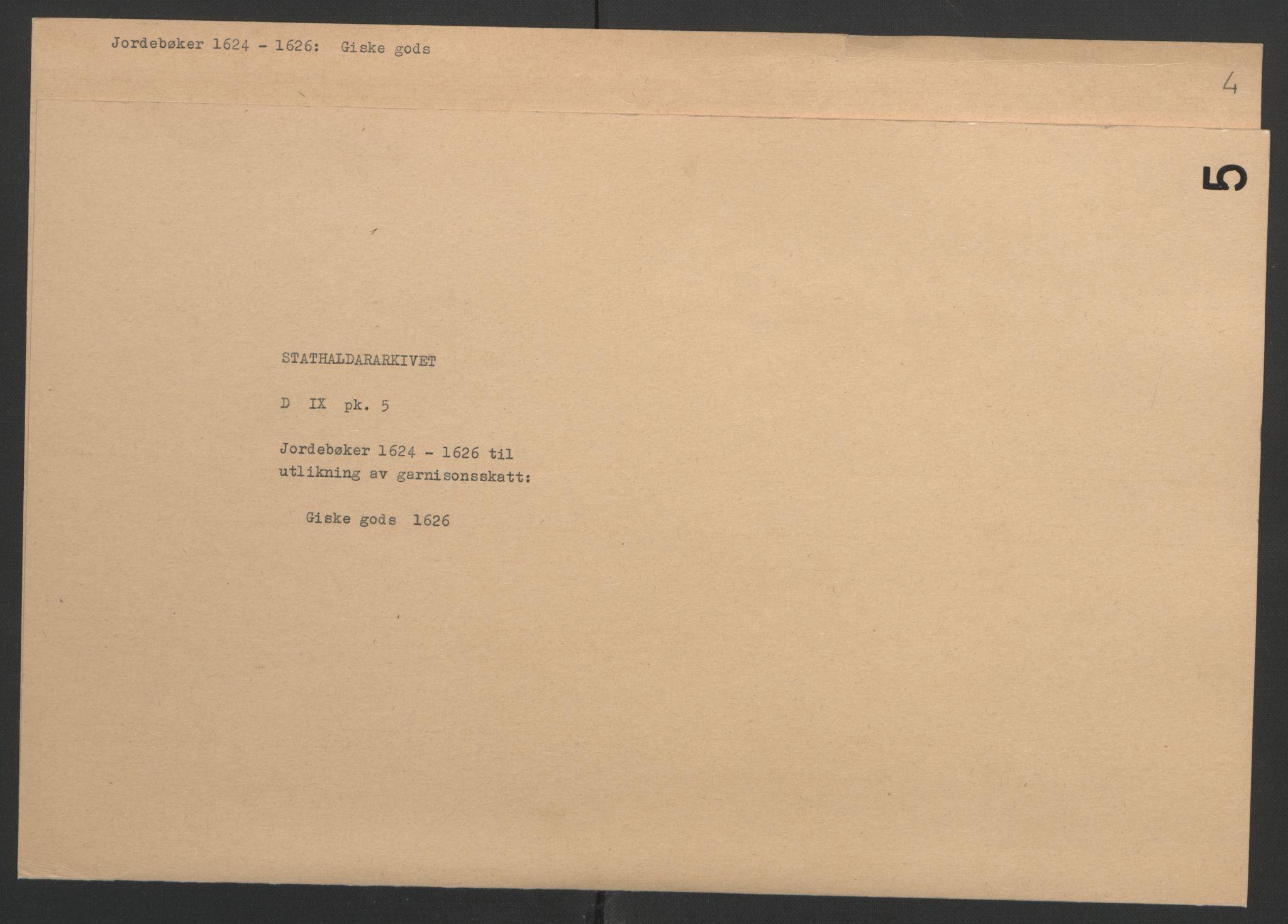 RA, Stattholderembetet 1572-1771, Ek/L0005: Jordebøker til utlikning av garnisonsskatt 1624-1626:, 1626, s. 230