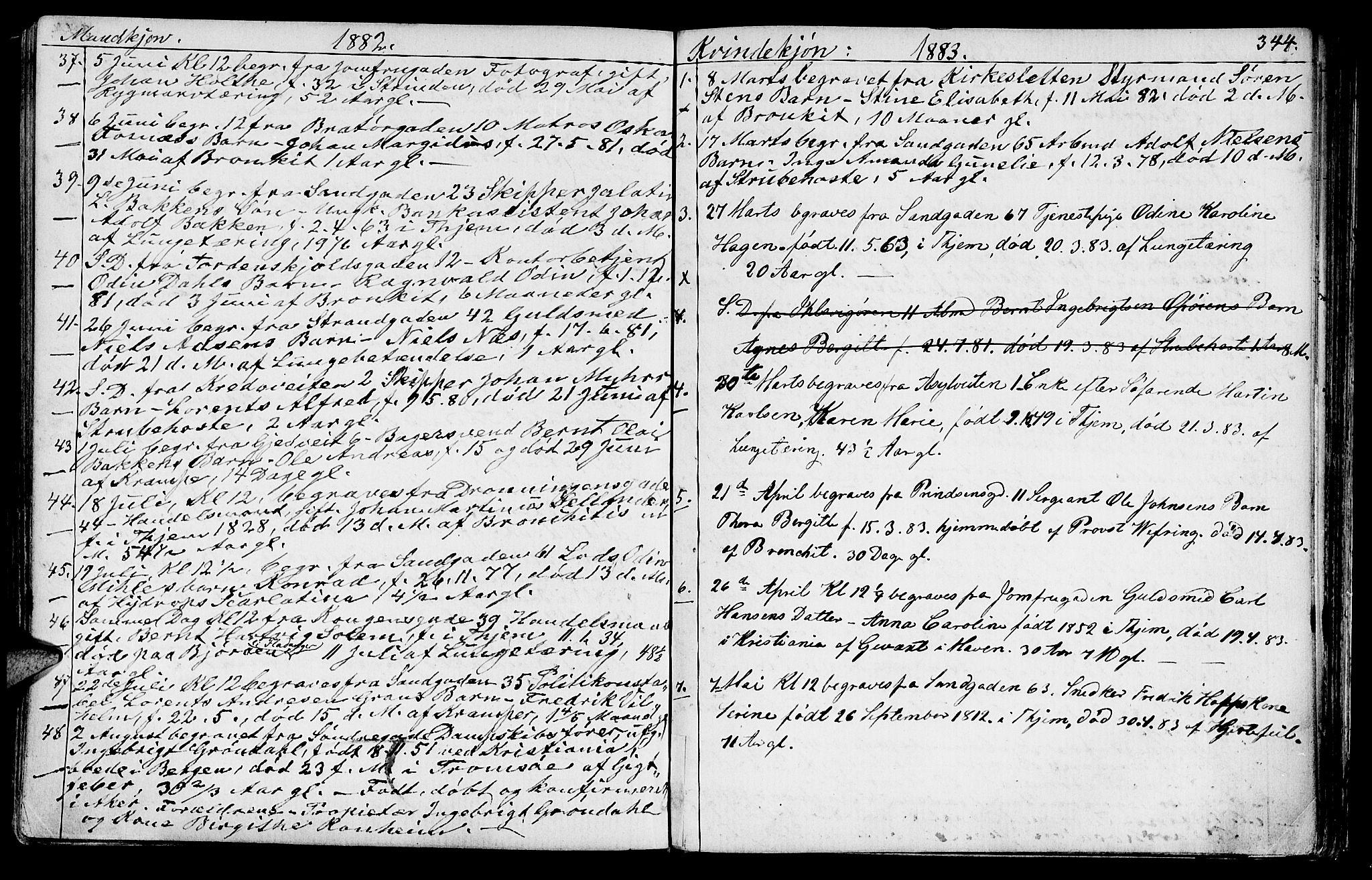 SAT, Ministerialprotokoller, klokkerbøker og fødselsregistre - Sør-Trøndelag, 602/L0142: Klokkerbok nr. 602C10, 1872-1894, s. 344