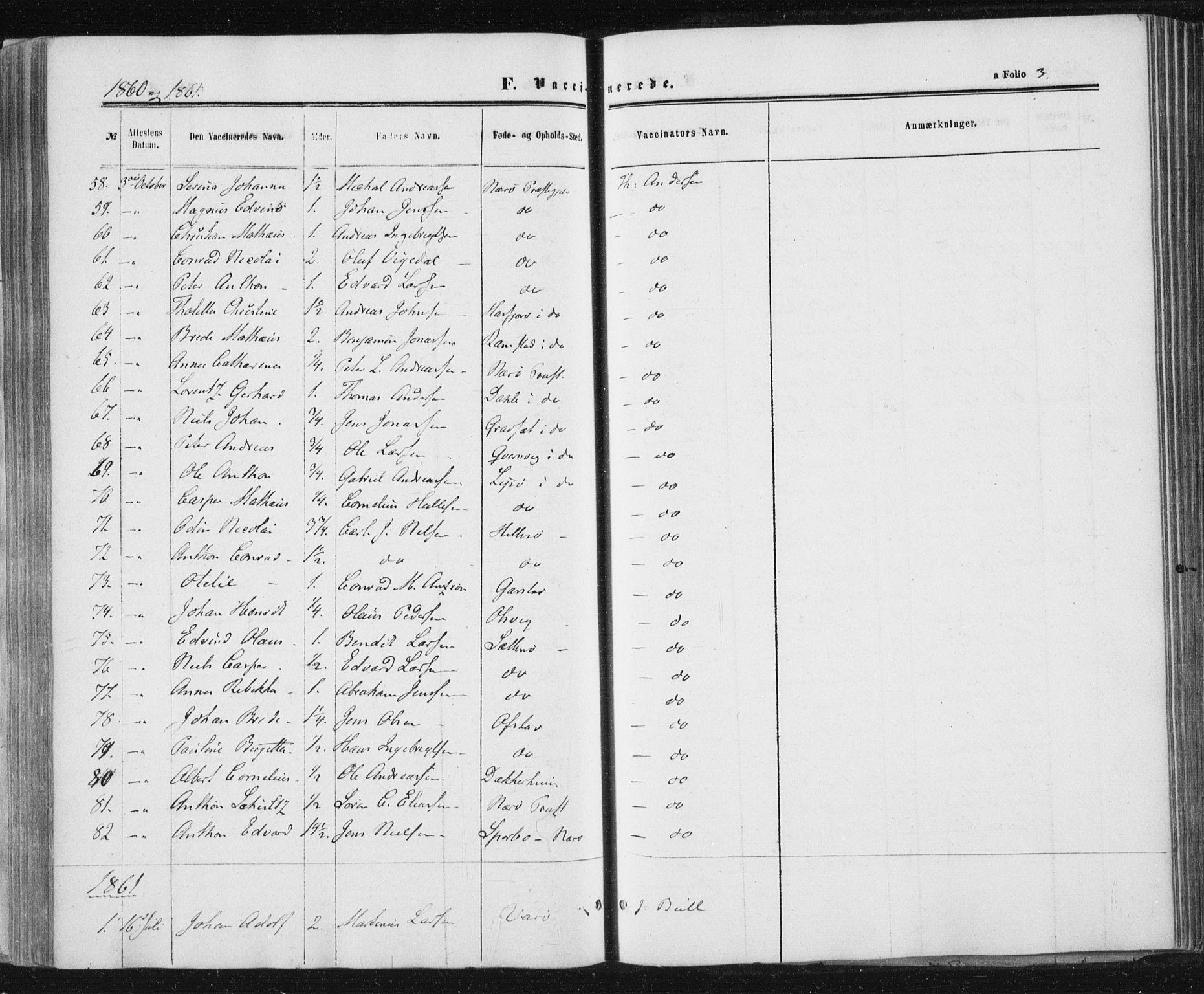 SAT, Ministerialprotokoller, klokkerbøker og fødselsregistre - Nord-Trøndelag, 784/L0670: Ministerialbok nr. 784A05, 1860-1876, s. 3