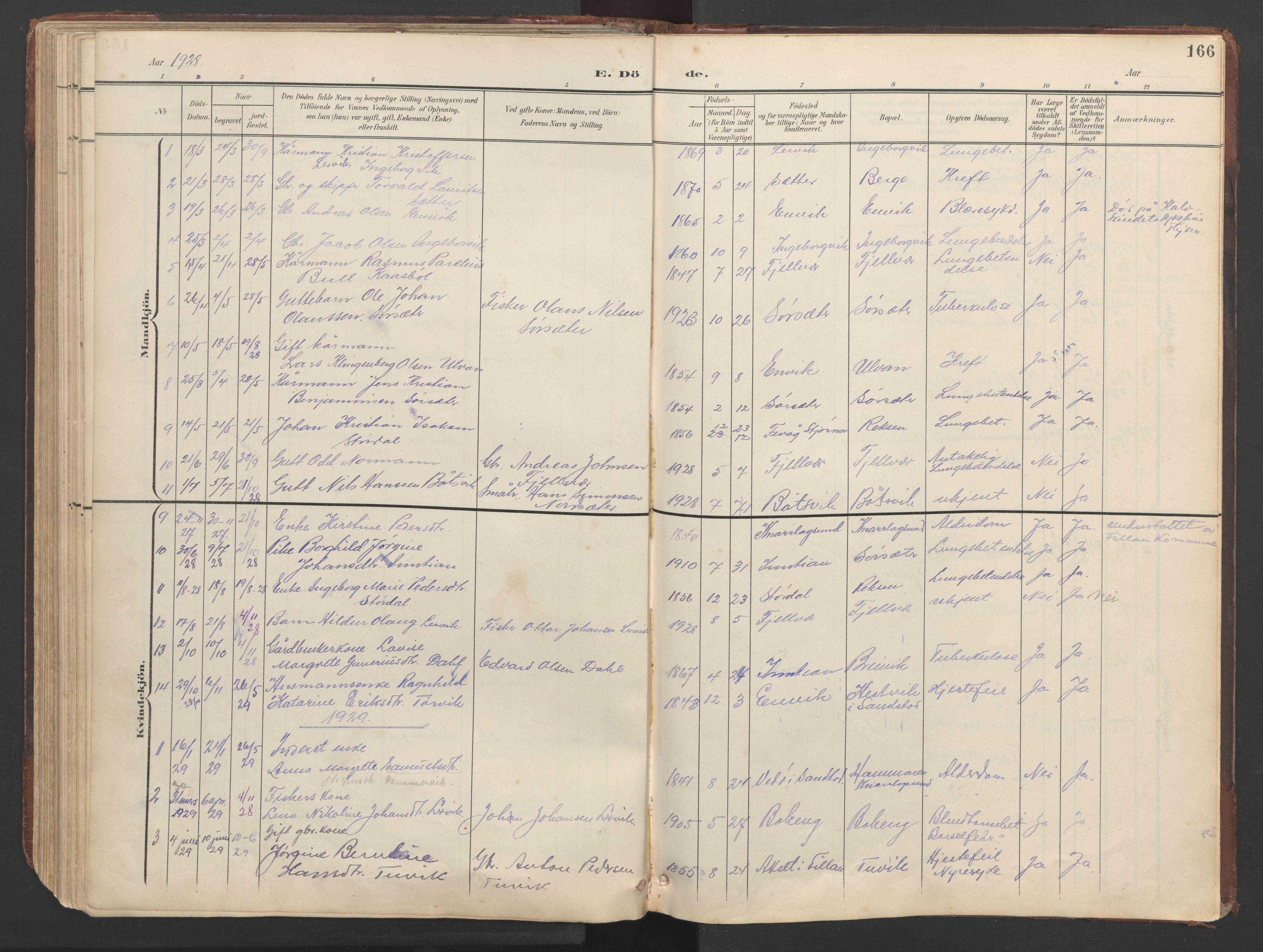 SAT, Ministerialprotokoller, klokkerbøker og fødselsregistre - Sør-Trøndelag, 638/L0571: Klokkerbok nr. 638C03, 1901-1930, s. 166