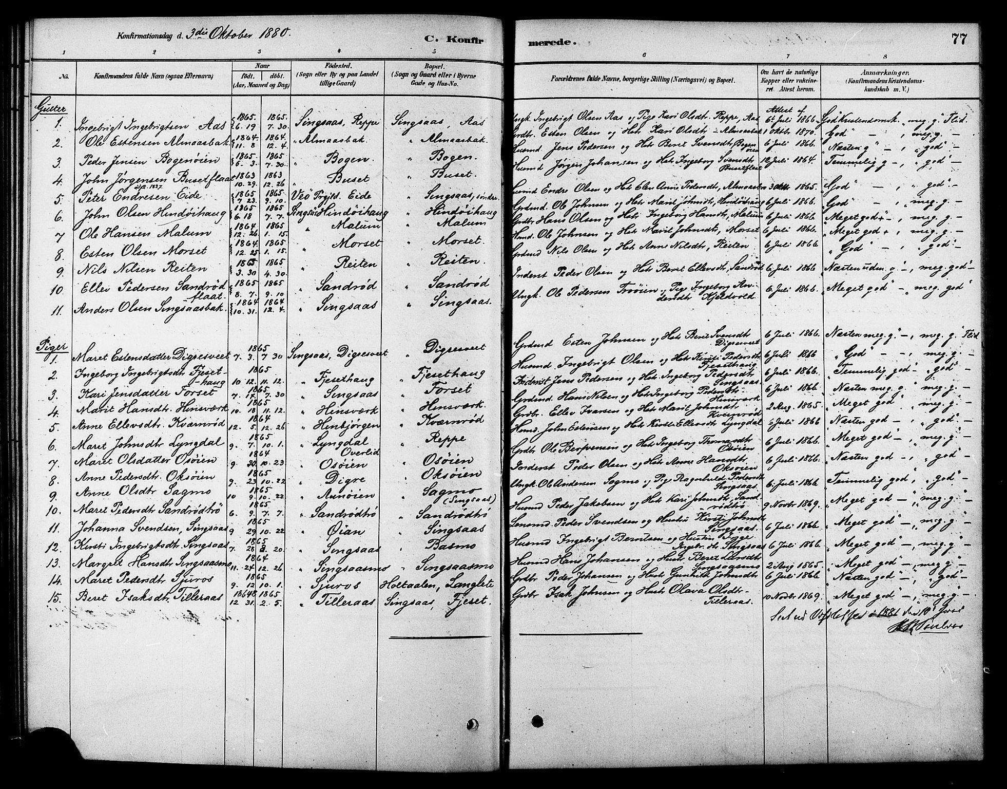 SAT, Ministerialprotokoller, klokkerbøker og fødselsregistre - Sør-Trøndelag, 688/L1024: Ministerialbok nr. 688A01, 1879-1890, s. 77