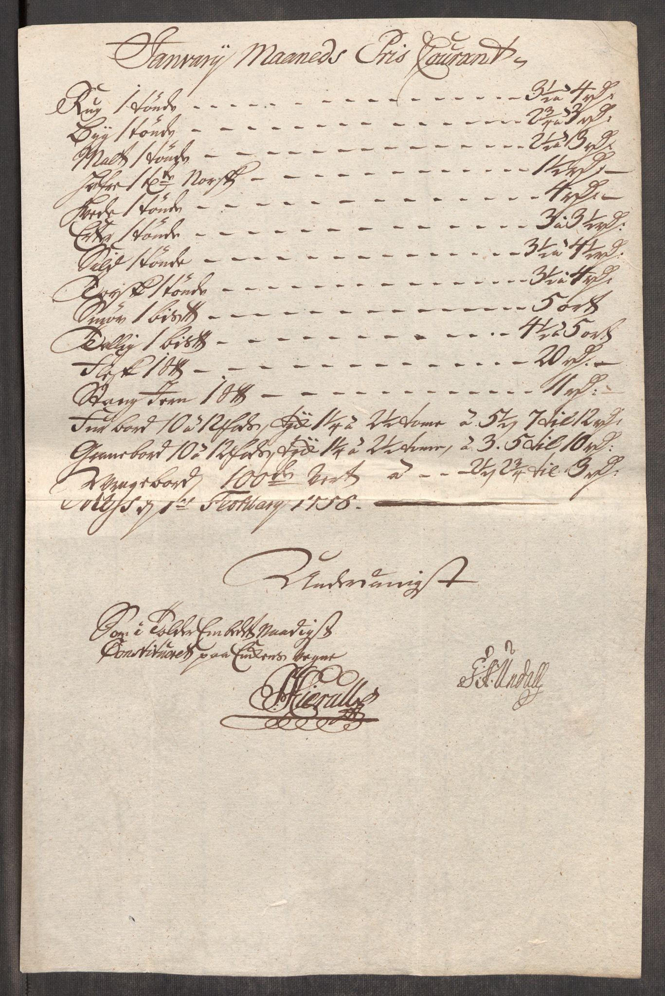 RA, Rentekammeret inntil 1814, Realistisk ordnet avdeling, Oe/L0006: [Ø1]: Priskuranter, 1758-1760, s. 71