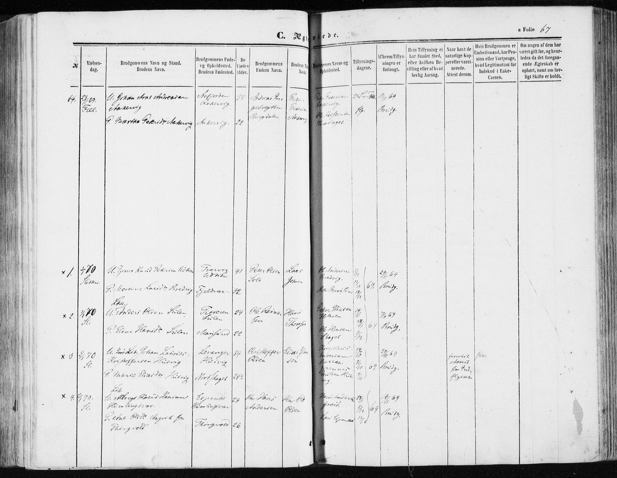 SAT, Ministerialprotokoller, klokkerbøker og fødselsregistre - Sør-Trøndelag, 634/L0531: Ministerialbok nr. 634A07, 1861-1870, s. 67