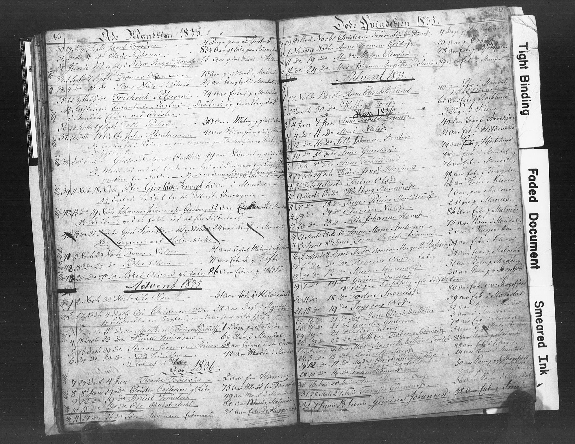 SAK, Mandal sokneprestkontor, F/Fb/Fba/L0003: Klokkerbok nr. B 1C, 1834-1838, s. 32