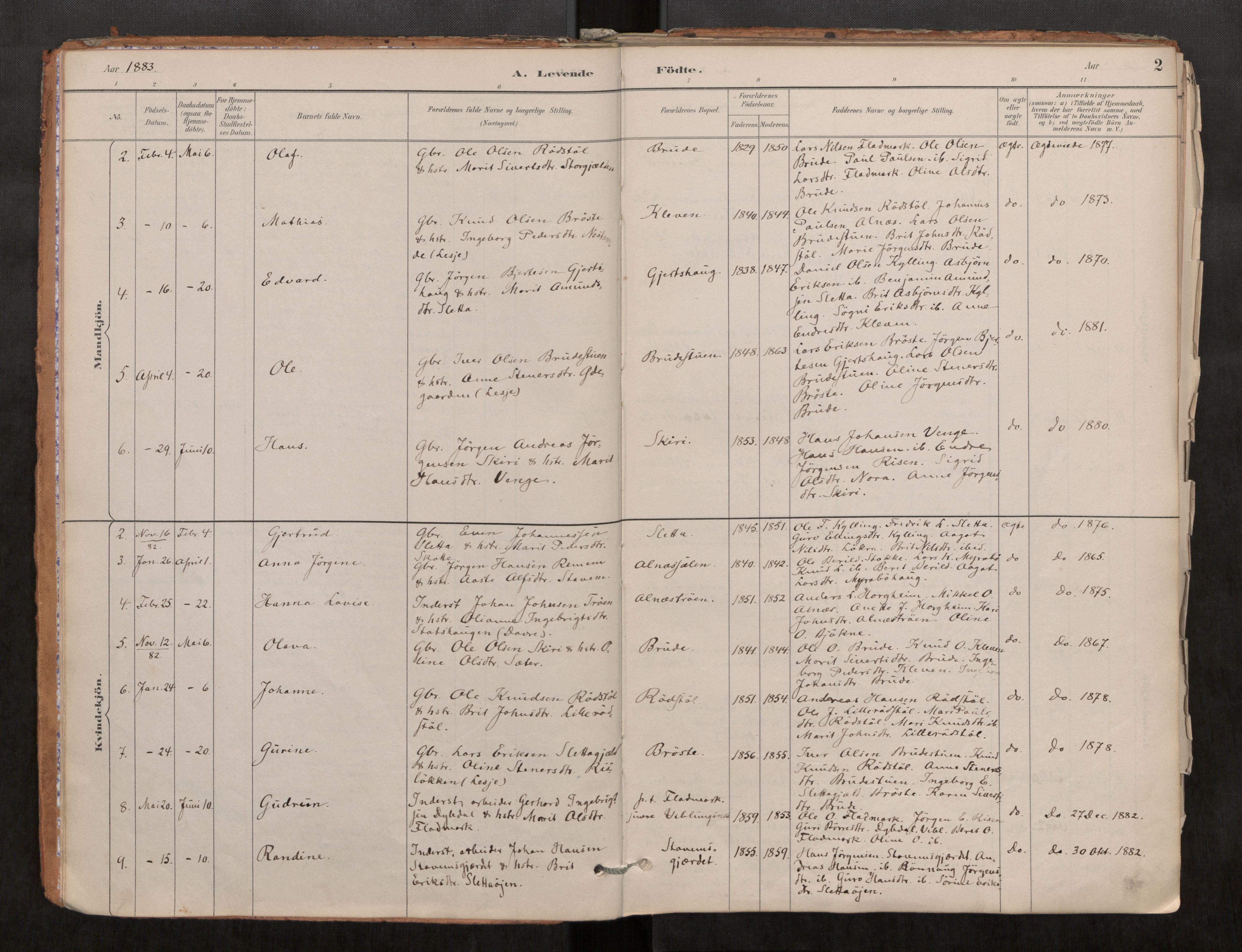 SAT, Grytten sokneprestkontor, Ministerialbok nr. 546A03, 1882-1920, s. 2