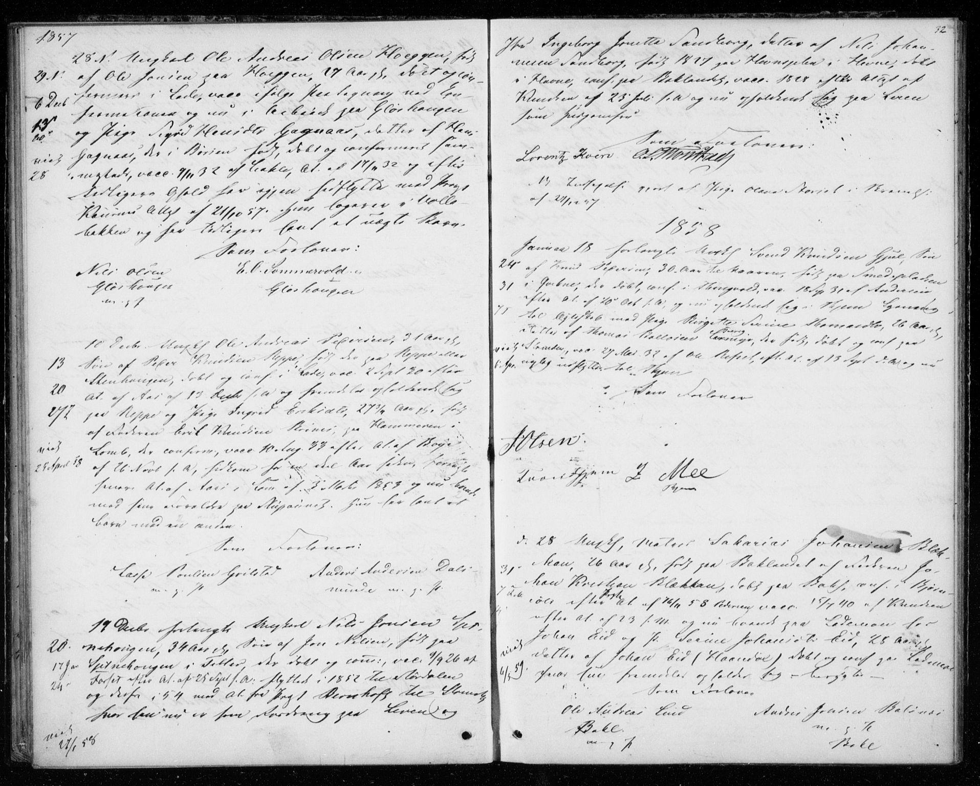 SAT, Ministerialprotokoller, klokkerbøker og fødselsregistre - Sør-Trøndelag, 606/L0297: Lysningsprotokoll nr. 606A12, 1854-1861, s. 32