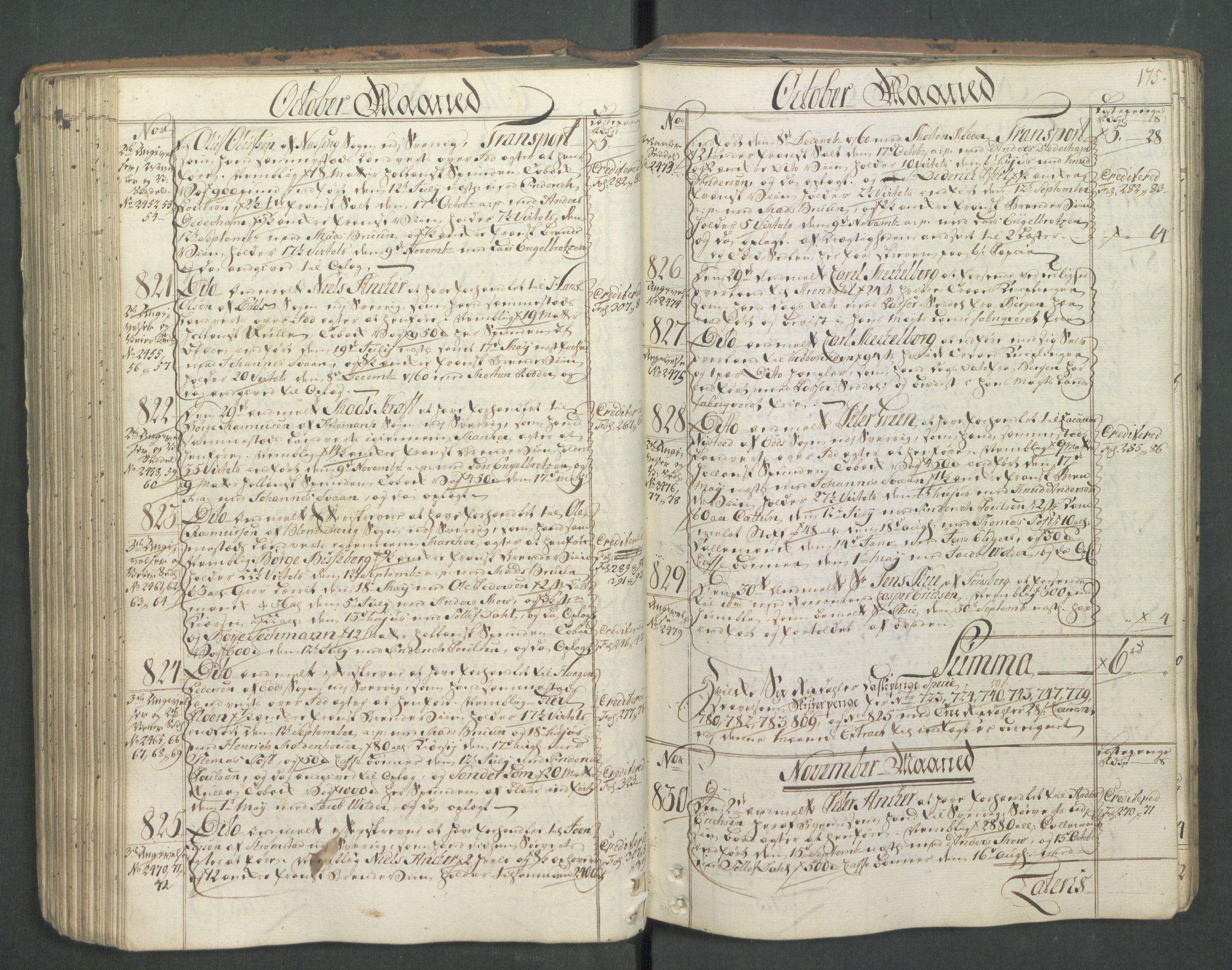 RA, Generaltollkammeret, tollregnskaper, R01/L0046: Tollregnskaper Fredrikshald, 1762, s. 174b-175a