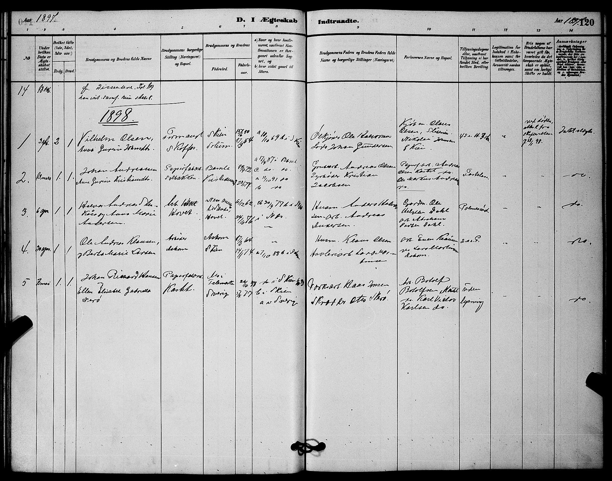 SAKO, Solum kirkebøker, G/Gb/L0003: Klokkerbok nr. II 3, 1880-1898, s. 120