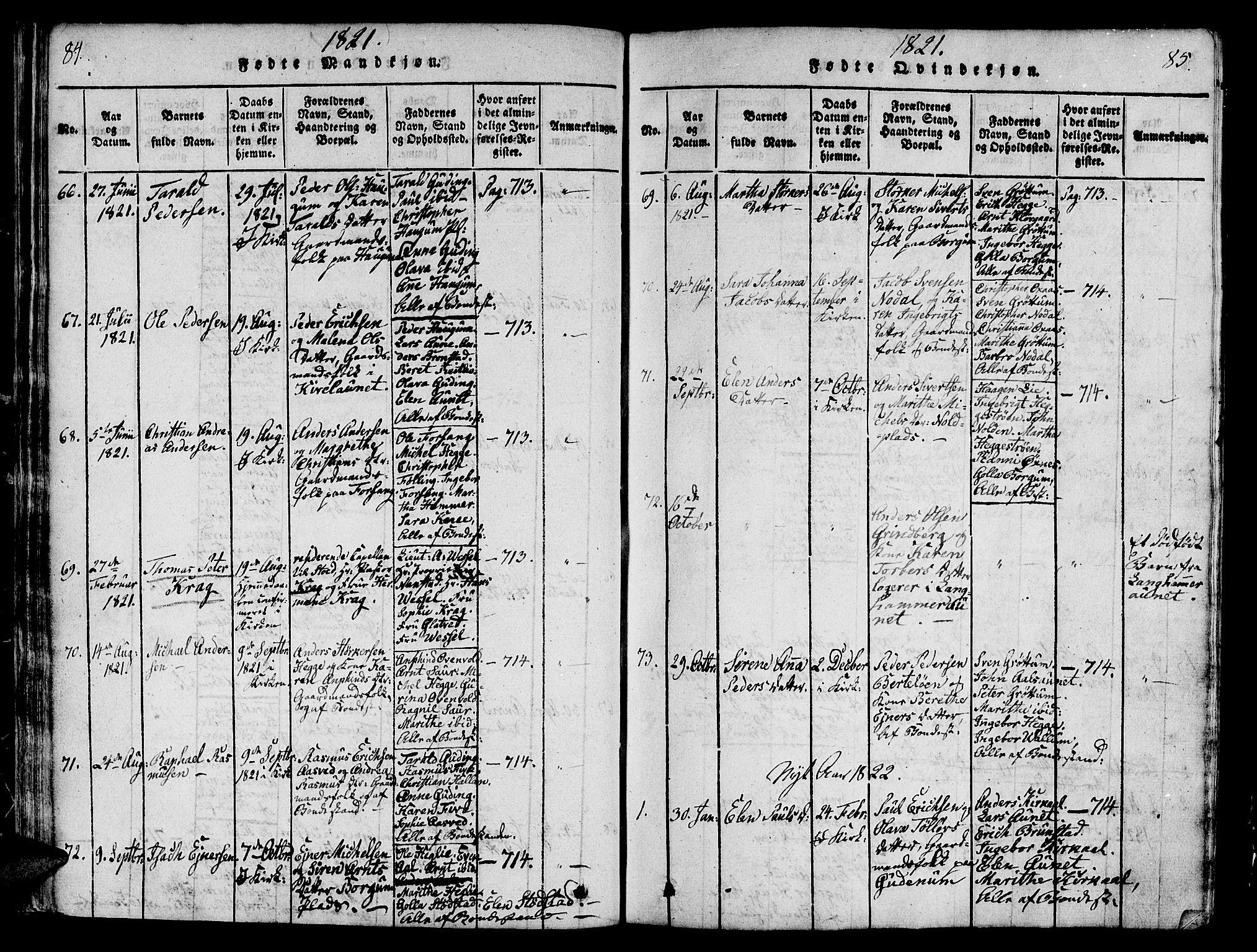 SAT, Ministerialprotokoller, klokkerbøker og fødselsregistre - Nord-Trøndelag, 746/L0441: Ministerialbok nr. 746A03 /2, 1816-1827, s. 84-85