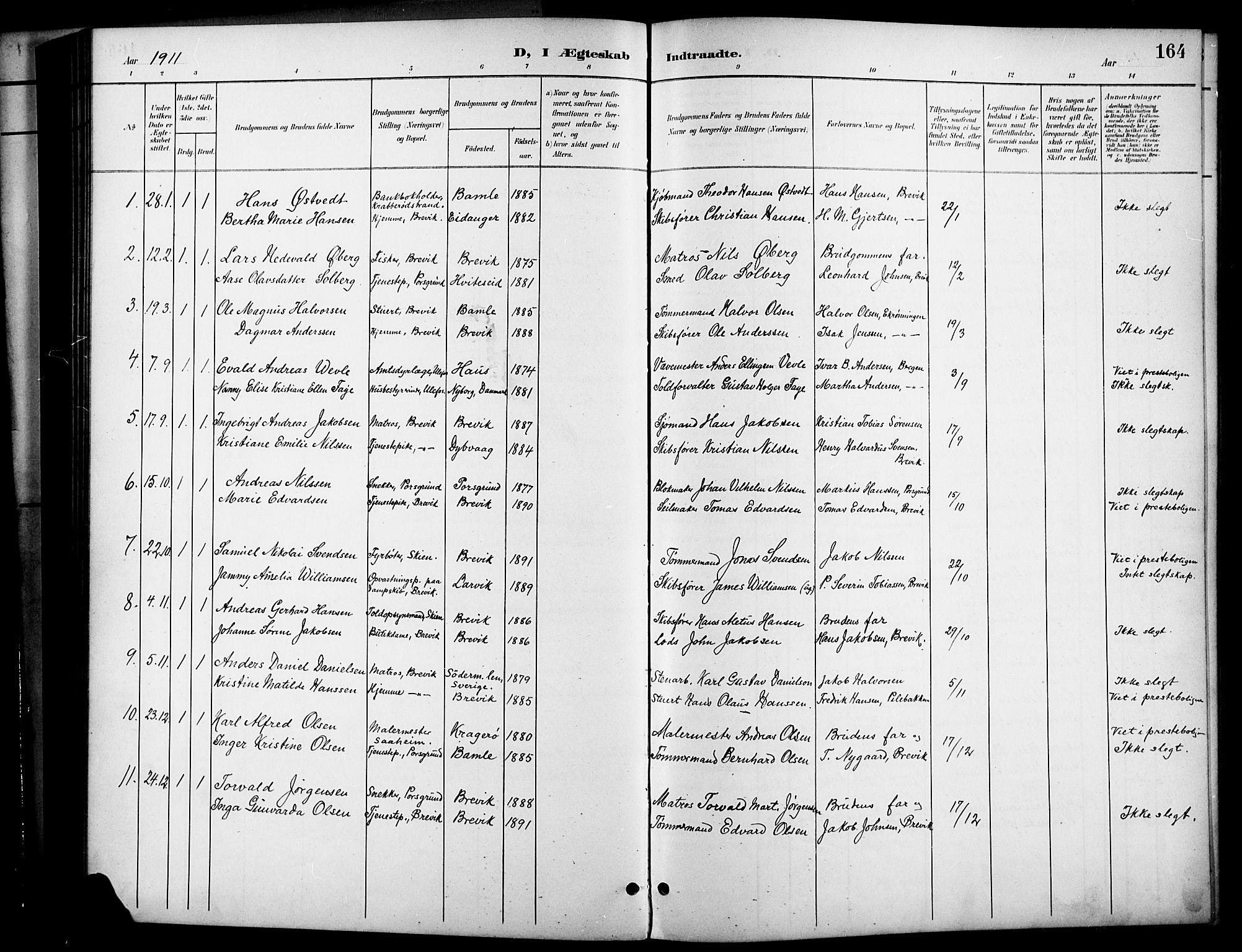 SAKO, Brevik kirkebøker, G/Ga/L0005: Klokkerbok nr. 5, 1901-1924, s. 164