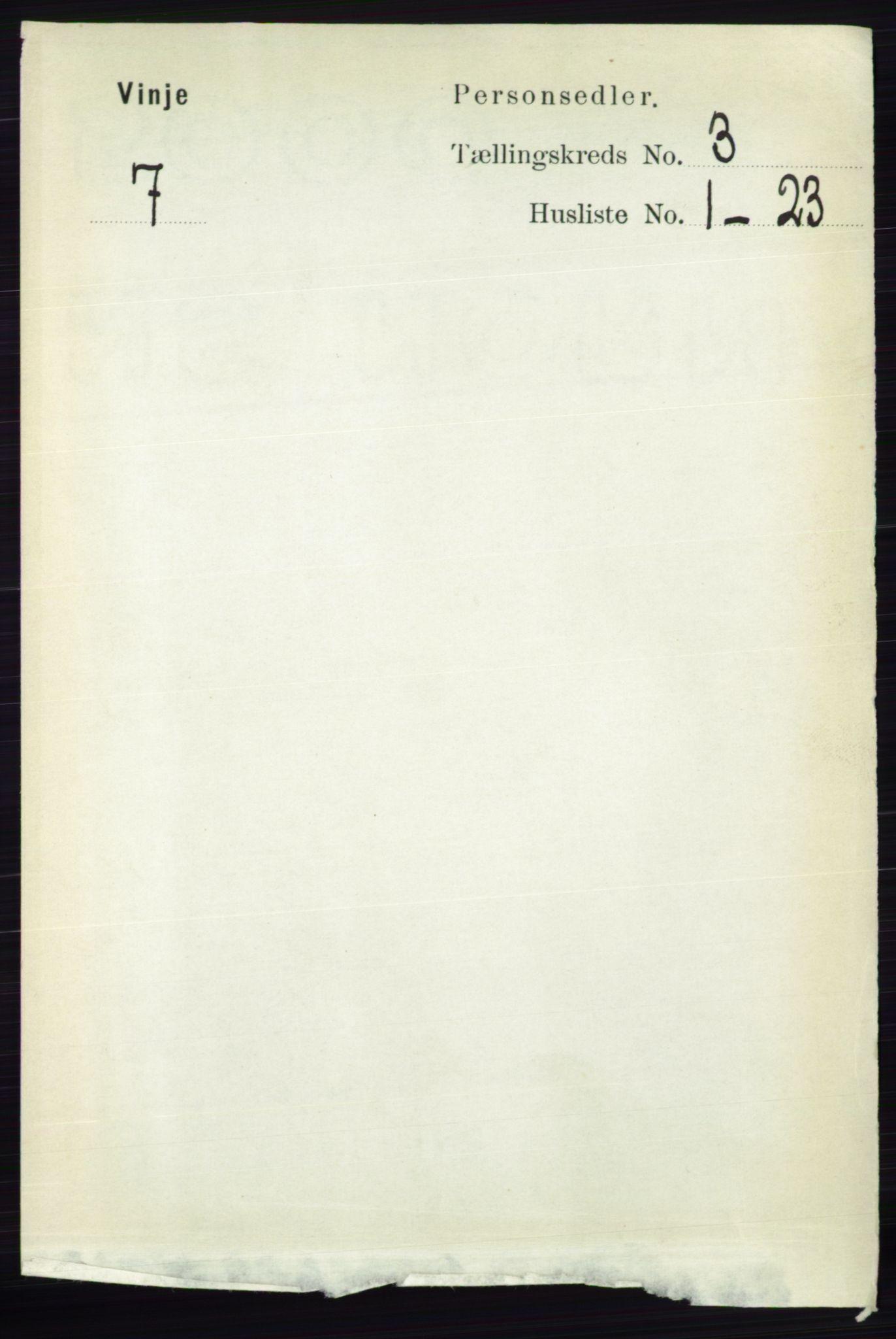 RA, Folketelling 1891 for 0834 Vinje herred, 1891, s. 643