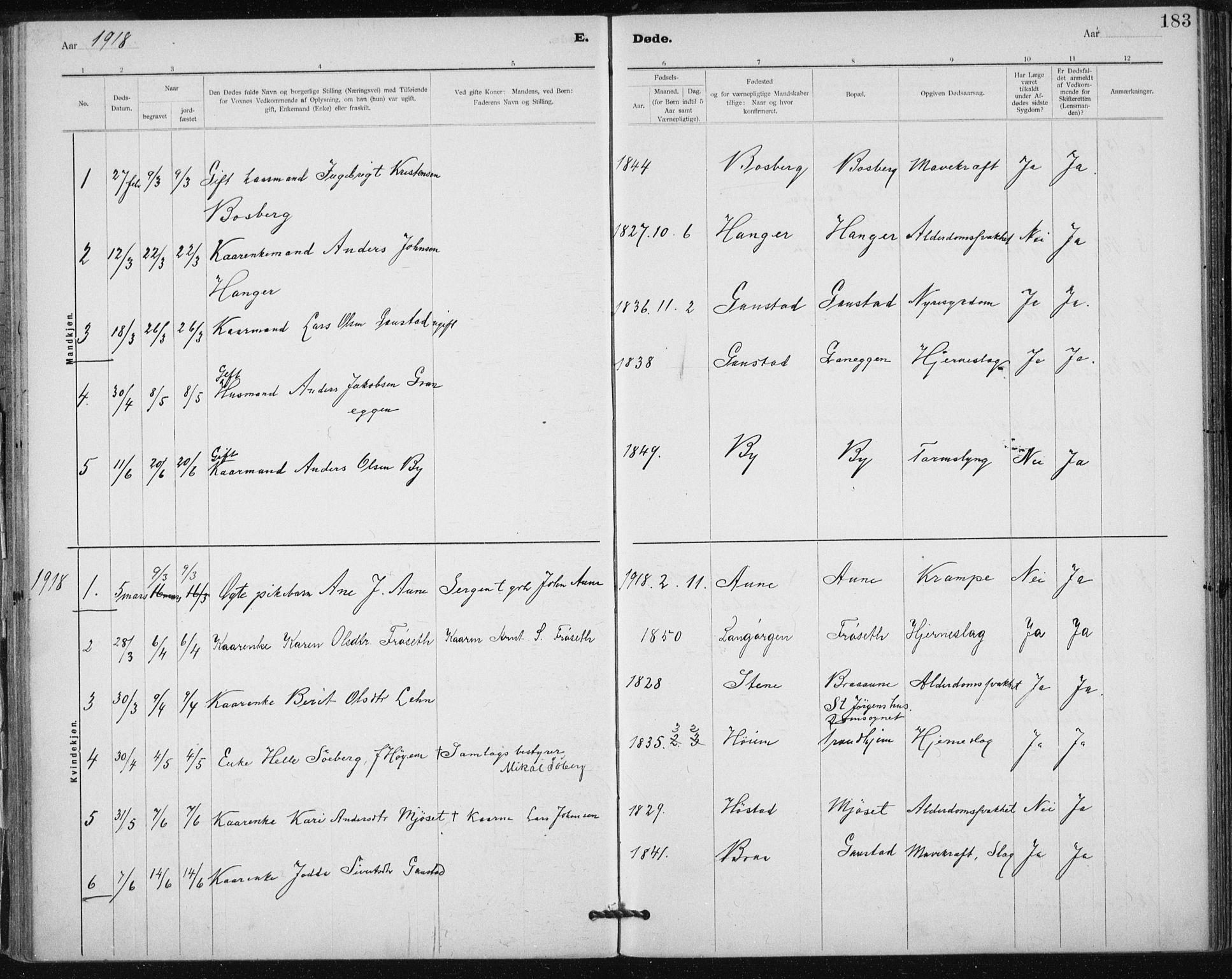 SAT, Ministerialprotokoller, klokkerbøker og fødselsregistre - Sør-Trøndelag, 612/L0381: Ministerialbok nr. 612A13, 1907-1923, s. 183