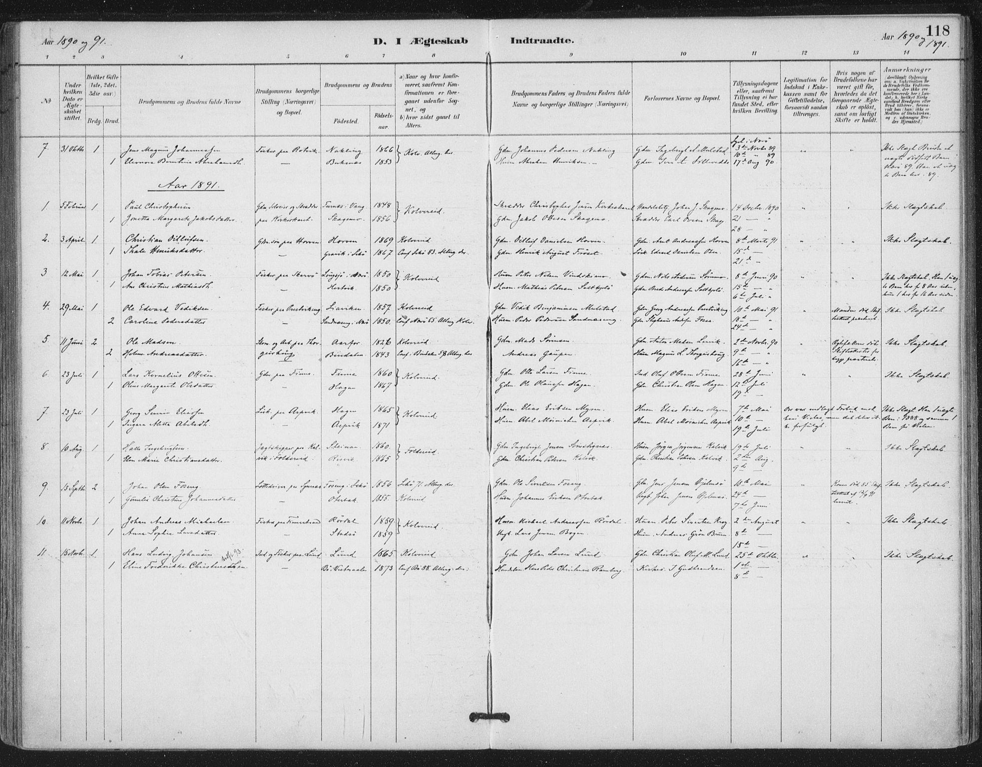 SAT, Ministerialprotokoller, klokkerbøker og fødselsregistre - Nord-Trøndelag, 780/L0644: Ministerialbok nr. 780A08, 1886-1903, s. 118