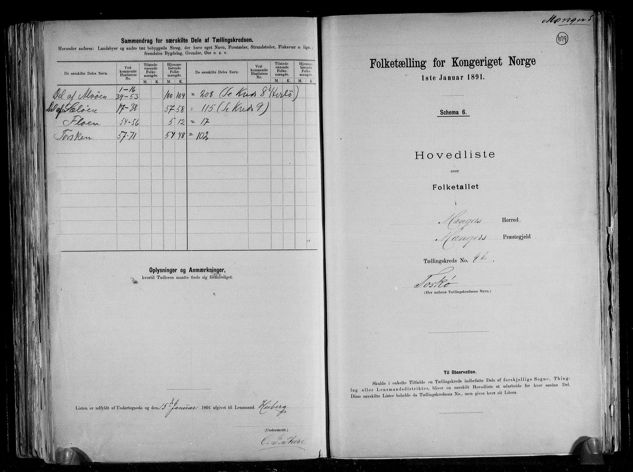 RA, Folketelling 1891 for 1261 Manger herred, 1891, s. 30