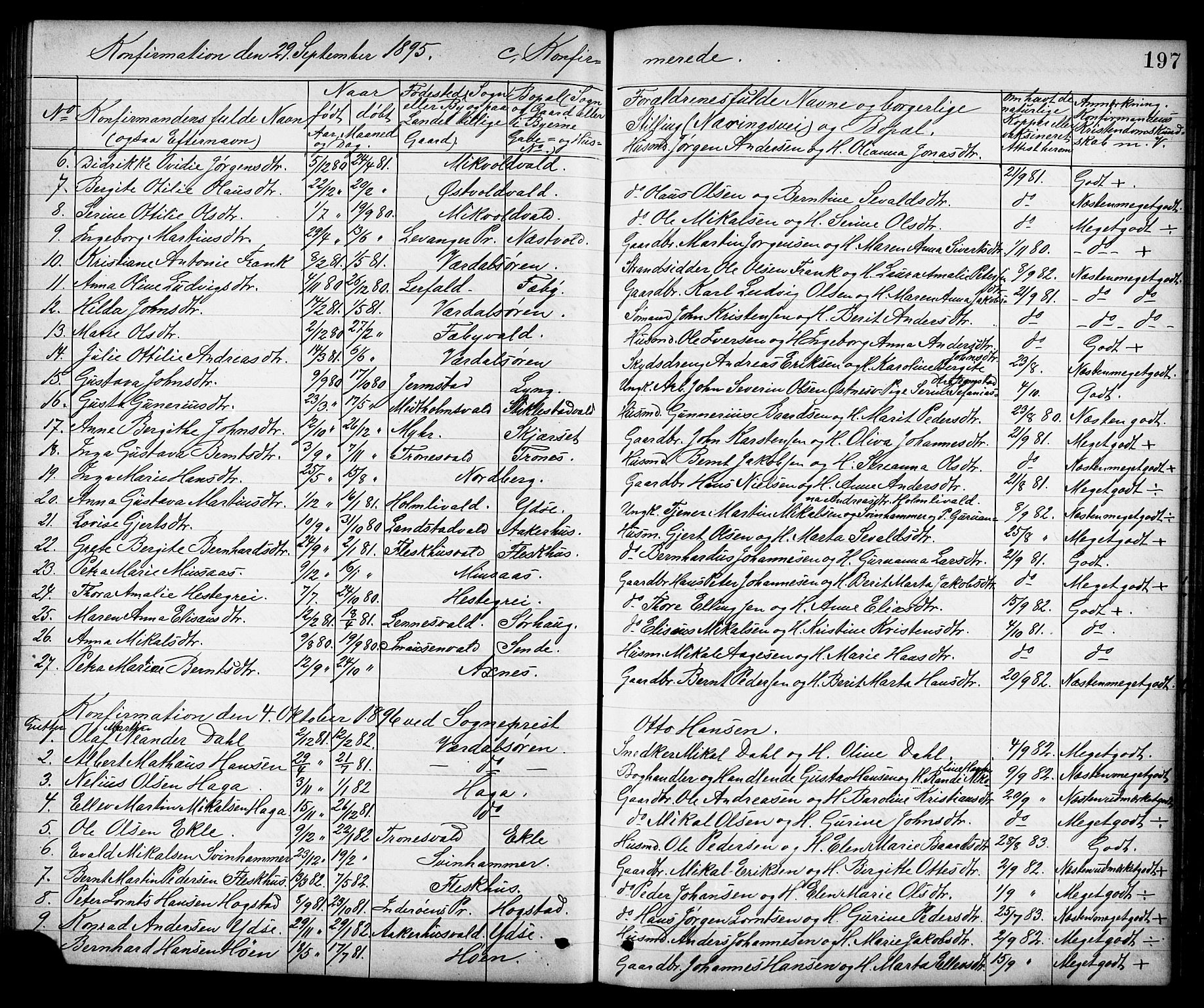 SAT, Ministerialprotokoller, klokkerbøker og fødselsregistre - Nord-Trøndelag, 723/L0257: Klokkerbok nr. 723C05, 1890-1907, s. 197