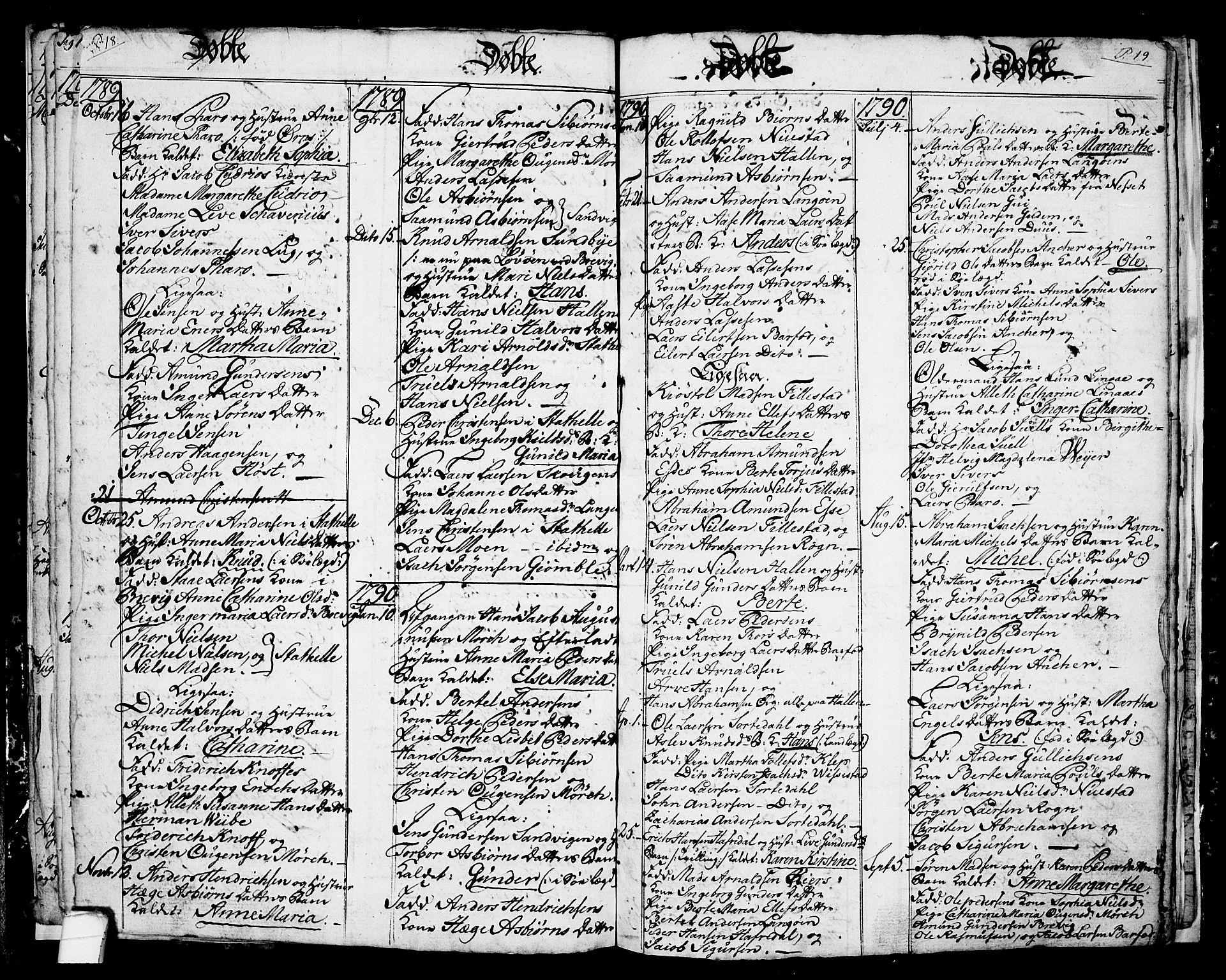 SAKO, Langesund kirkebøker, G/Ga/L0001: Klokkerbok nr. 1, 1783-1801, s. 18-19