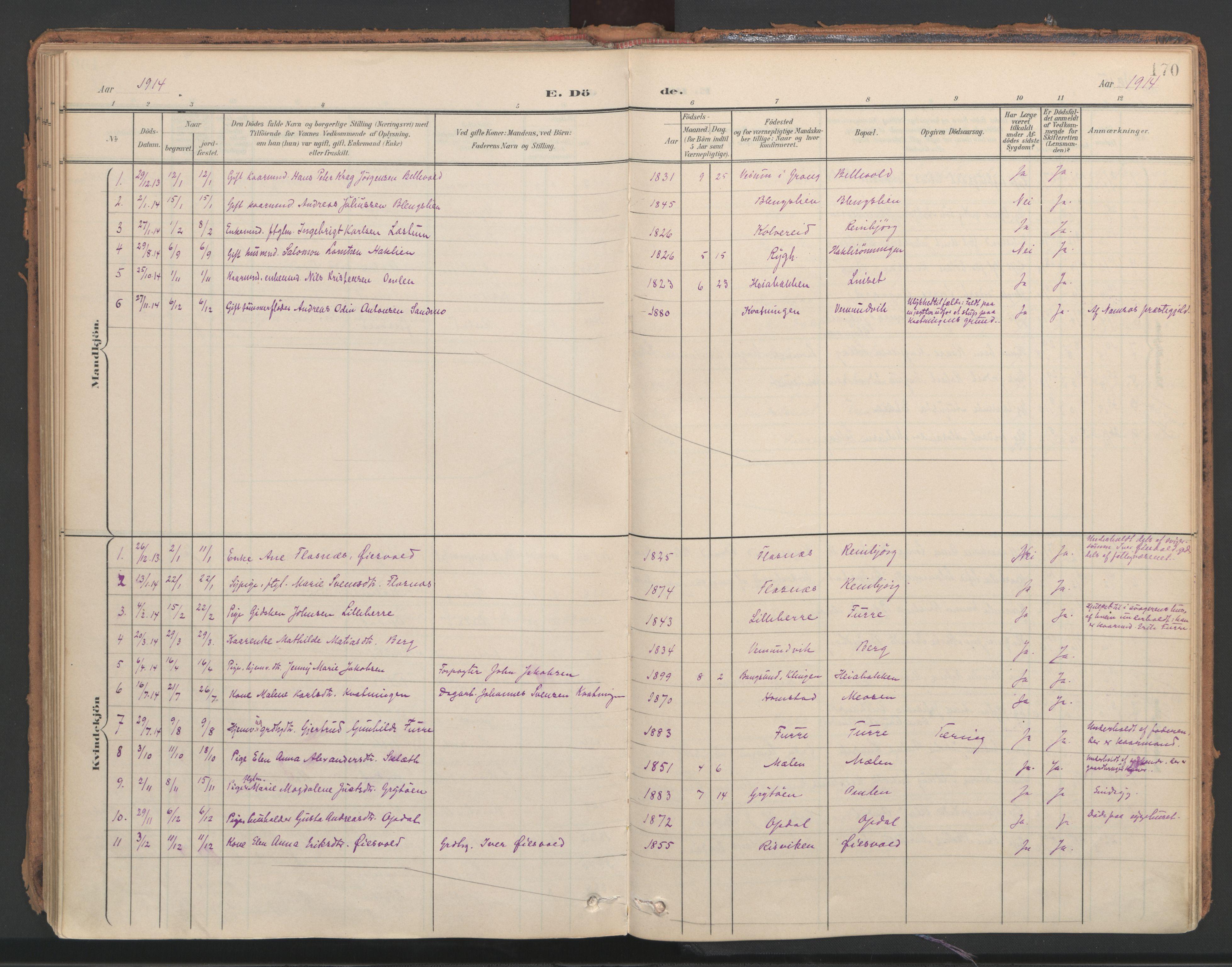 SAT, Ministerialprotokoller, klokkerbøker og fødselsregistre - Nord-Trøndelag, 766/L0564: Ministerialbok nr. 767A02, 1900-1932, s. 170
