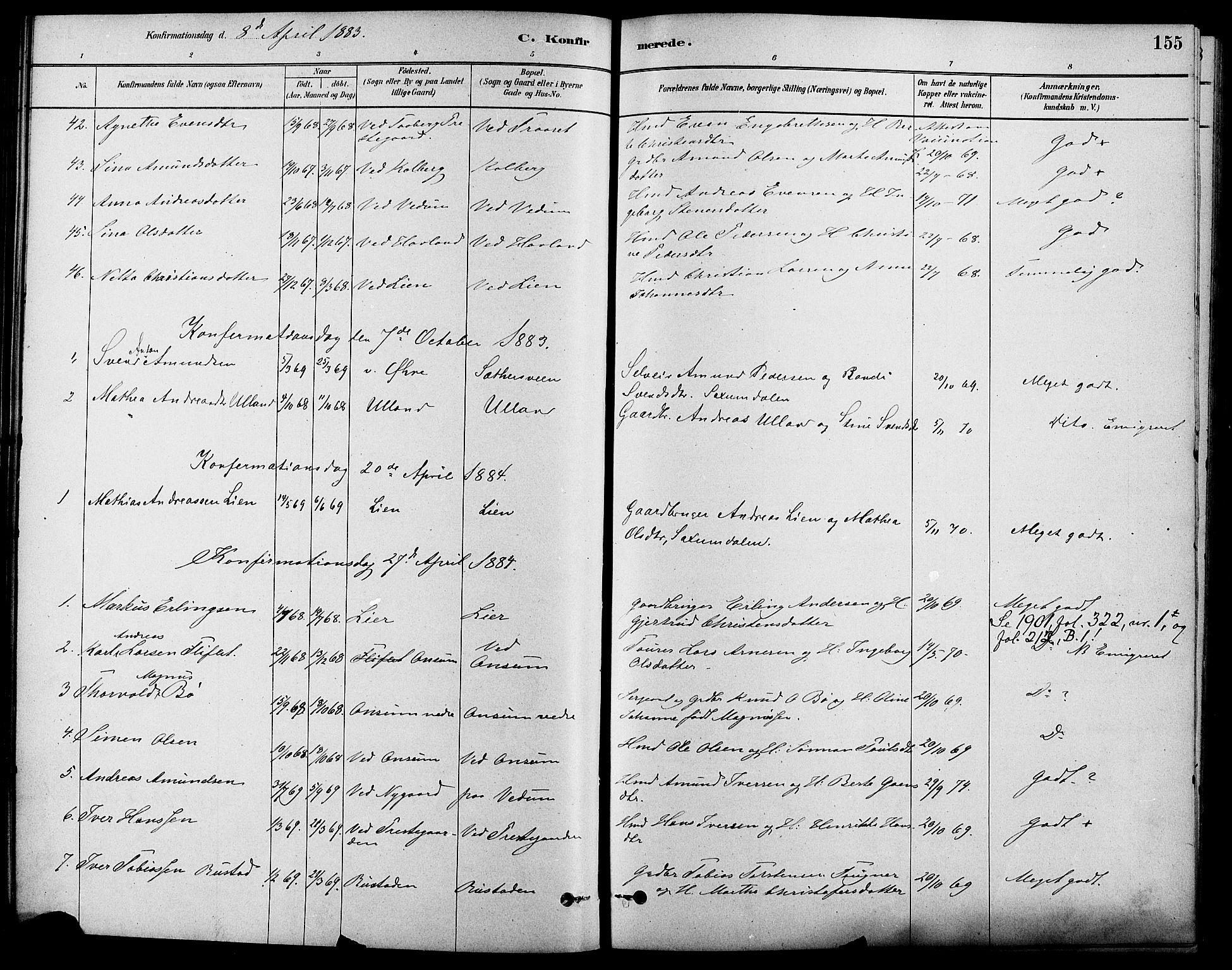 SAH, Fåberg prestekontor, Ministerialbok nr. 8, 1879-1898, s. 155