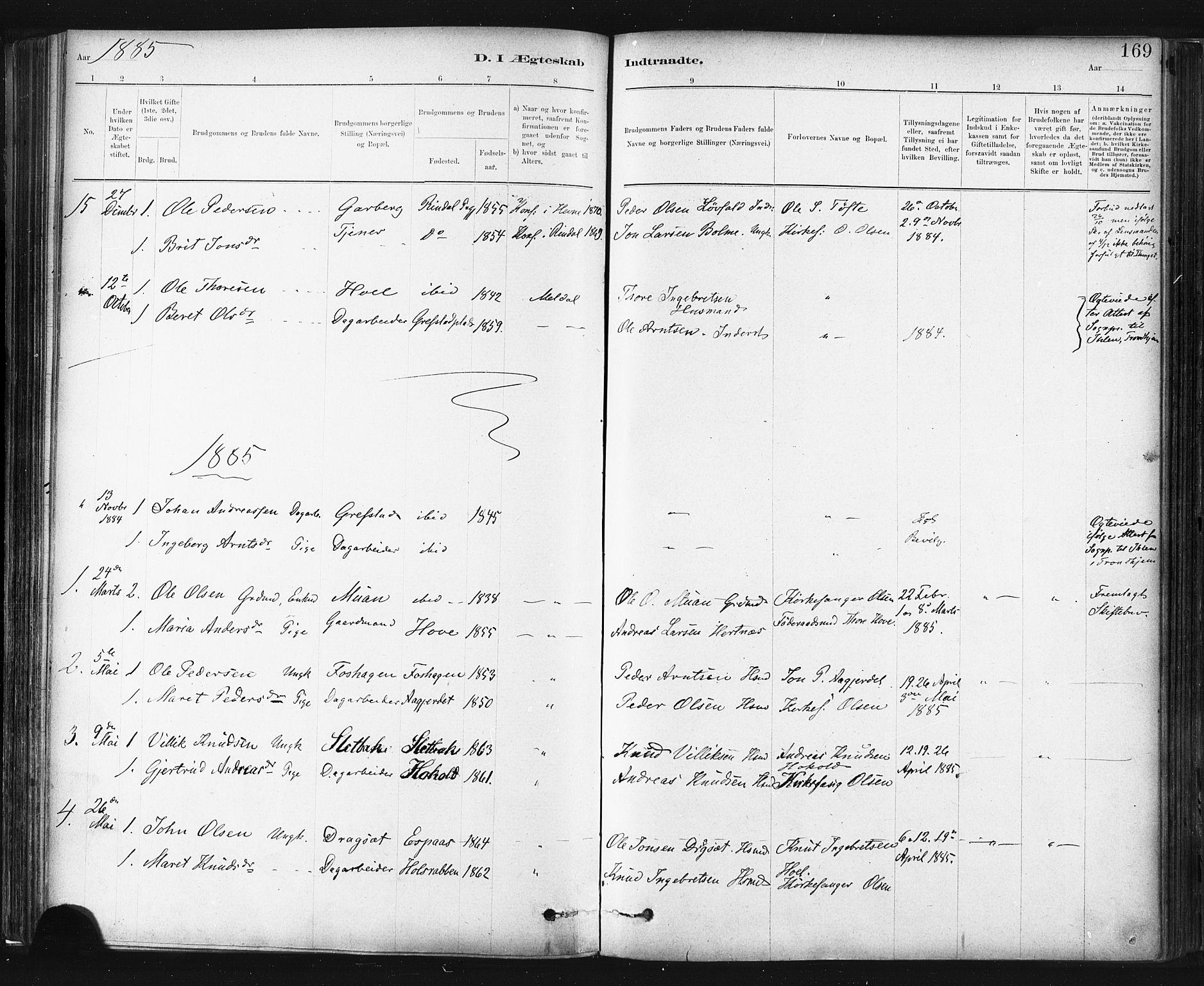 SAT, Ministerialprotokoller, klokkerbøker og fødselsregistre - Sør-Trøndelag, 672/L0857: Ministerialbok nr. 672A09, 1882-1893, s. 169