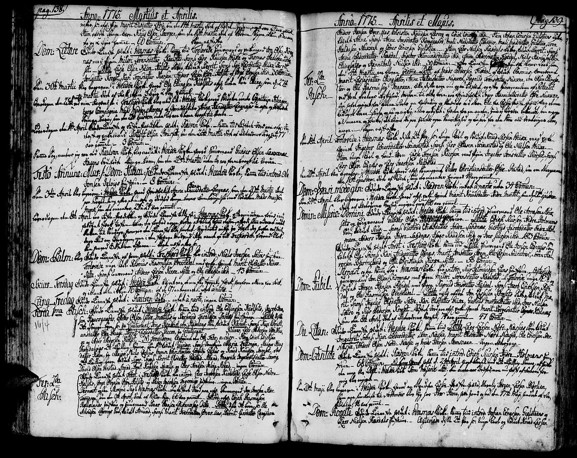 SAT, Ministerialprotokoller, klokkerbøker og fødselsregistre - Møre og Romsdal, 547/L0600: Ministerialbok nr. 547A02, 1765-1799, s. 138-139