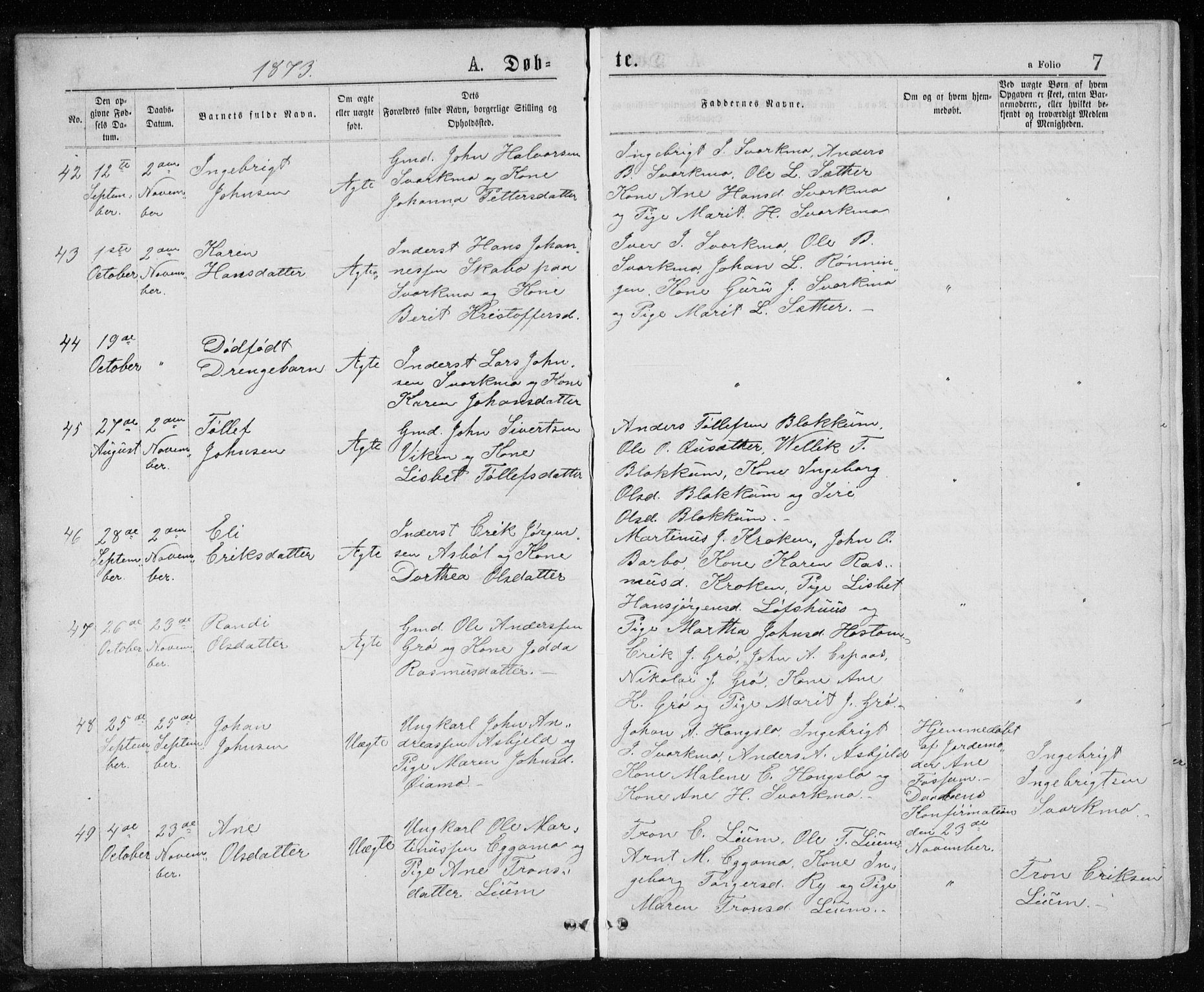 SAT, Ministerialprotokoller, klokkerbøker og fødselsregistre - Sør-Trøndelag, 671/L0843: Klokkerbok nr. 671C02, 1873-1892, s. 7