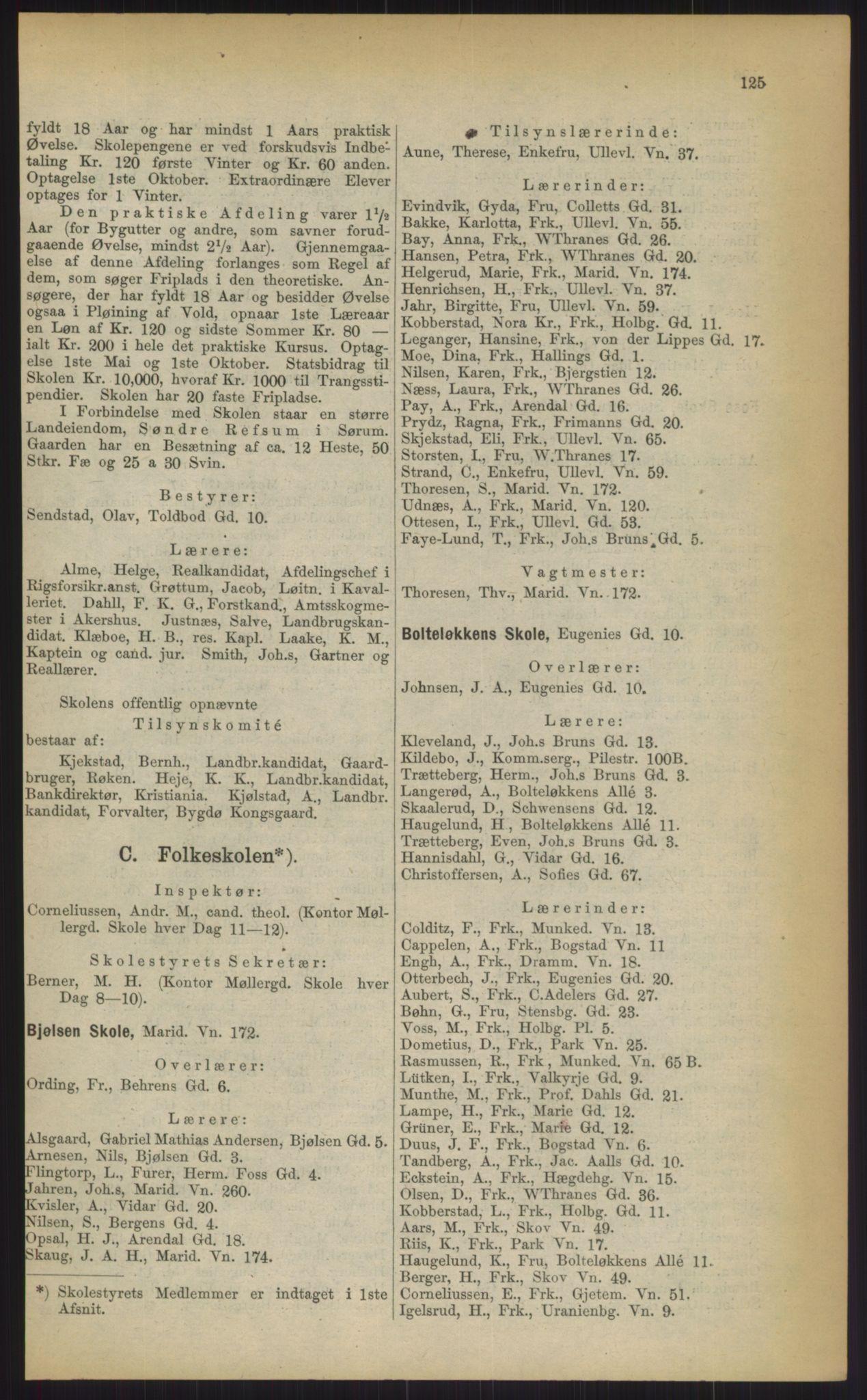 RA, Kristiania adressebok (publikasjon)*, 1903, s. 125