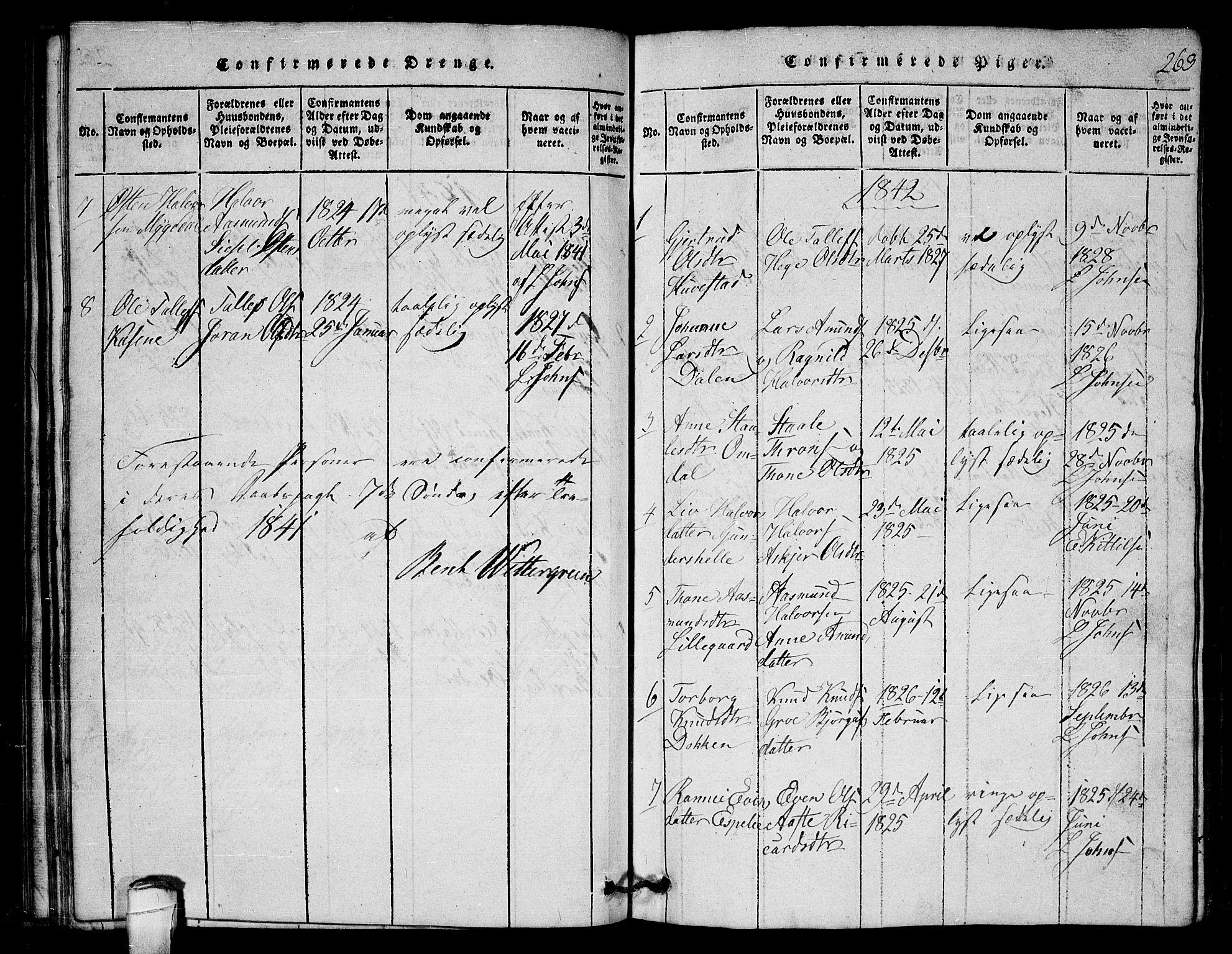 SAKO, Lårdal kirkebøker, G/Gb/L0001: Klokkerbok nr. II 1, 1815-1865, s. 263
