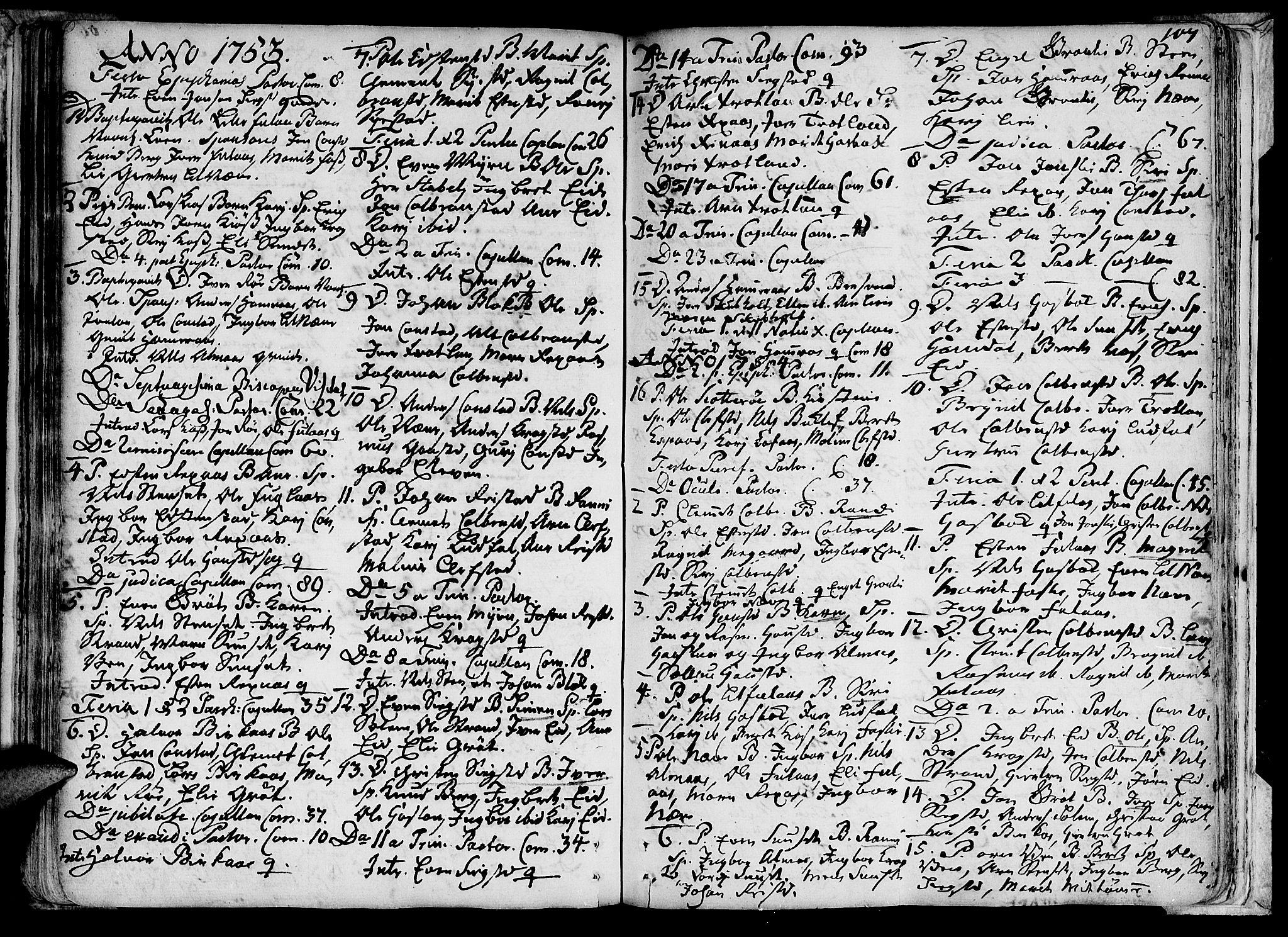 SAT, Ministerialprotokoller, klokkerbøker og fødselsregistre - Sør-Trøndelag, 691/L1060: Ministerialbok nr. 691A01 /4, 1740-1767, s. 107