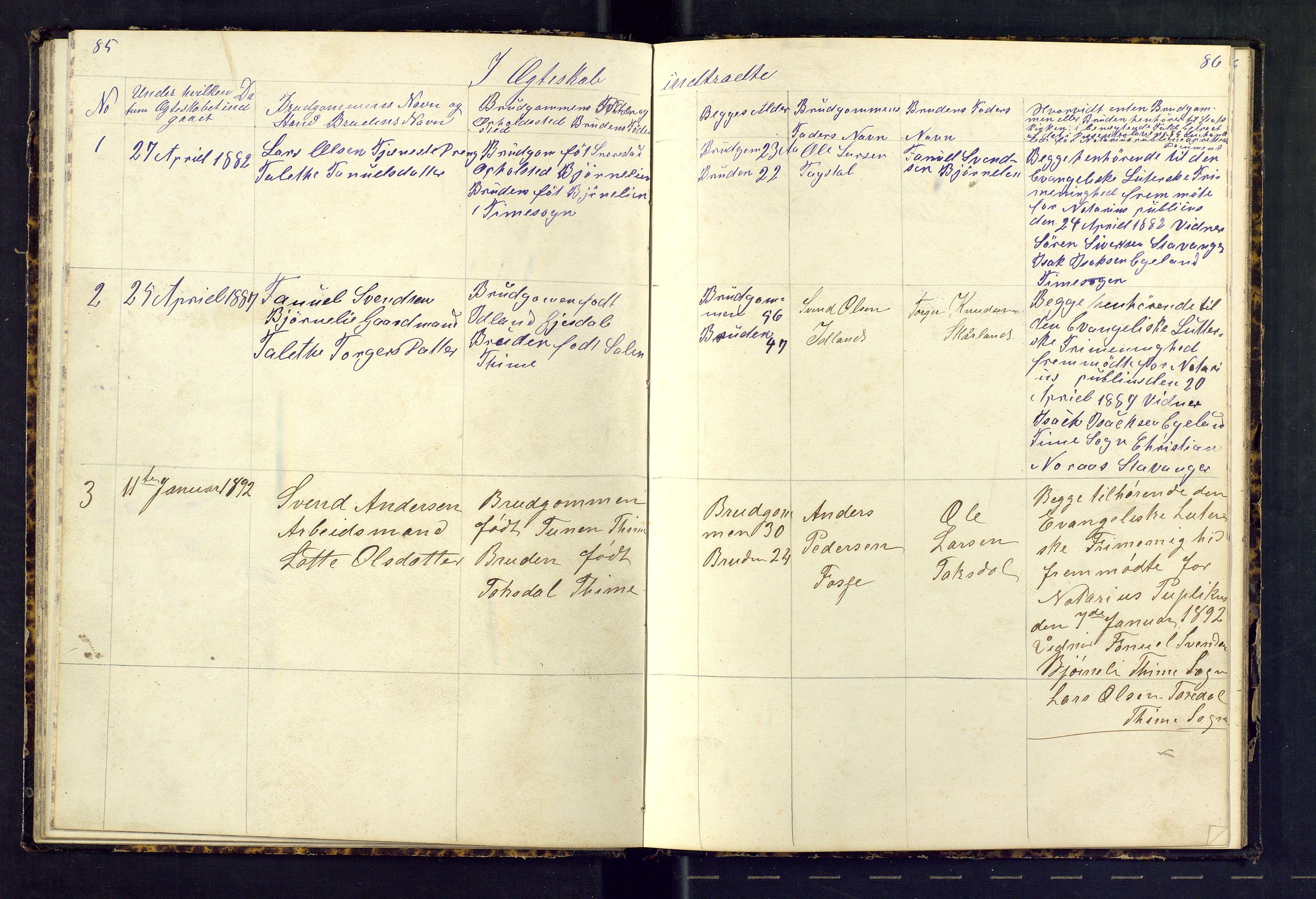 SAST, Den evangeliske lutherske frimenighet (SAS), Dissenterprotokoll nr. 1, 1881-1912, s. 85-86