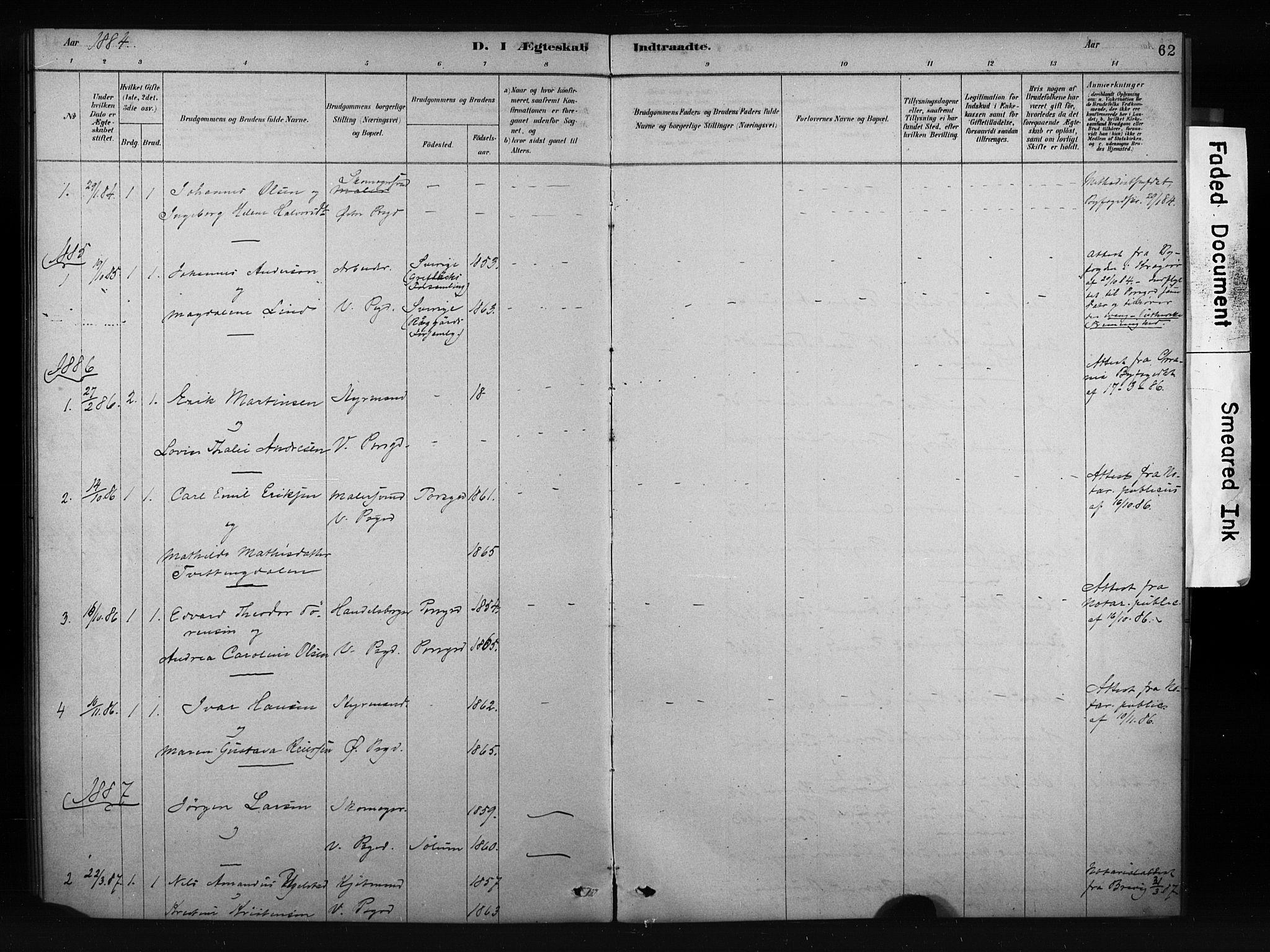 SAKO, Porsgrunn kirkebøker , F/Fa/L0009: Ministerialbok nr. 9, 1878-1923, s. 62