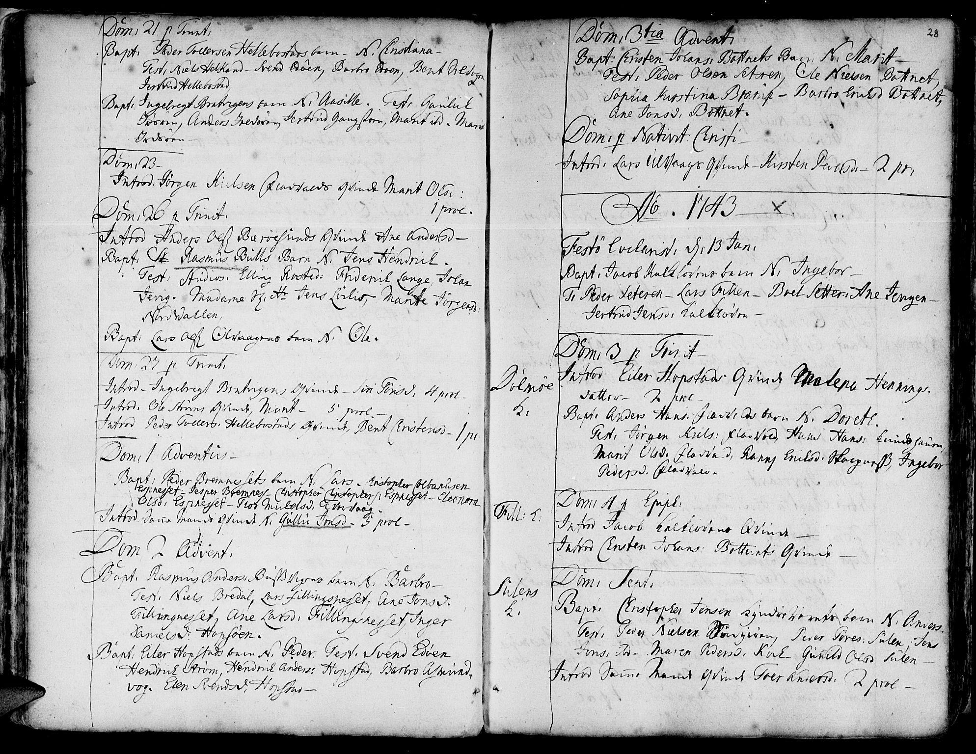 SAT, Ministerialprotokoller, klokkerbøker og fødselsregistre - Sør-Trøndelag, 634/L0525: Ministerialbok nr. 634A01, 1736-1775, s. 28